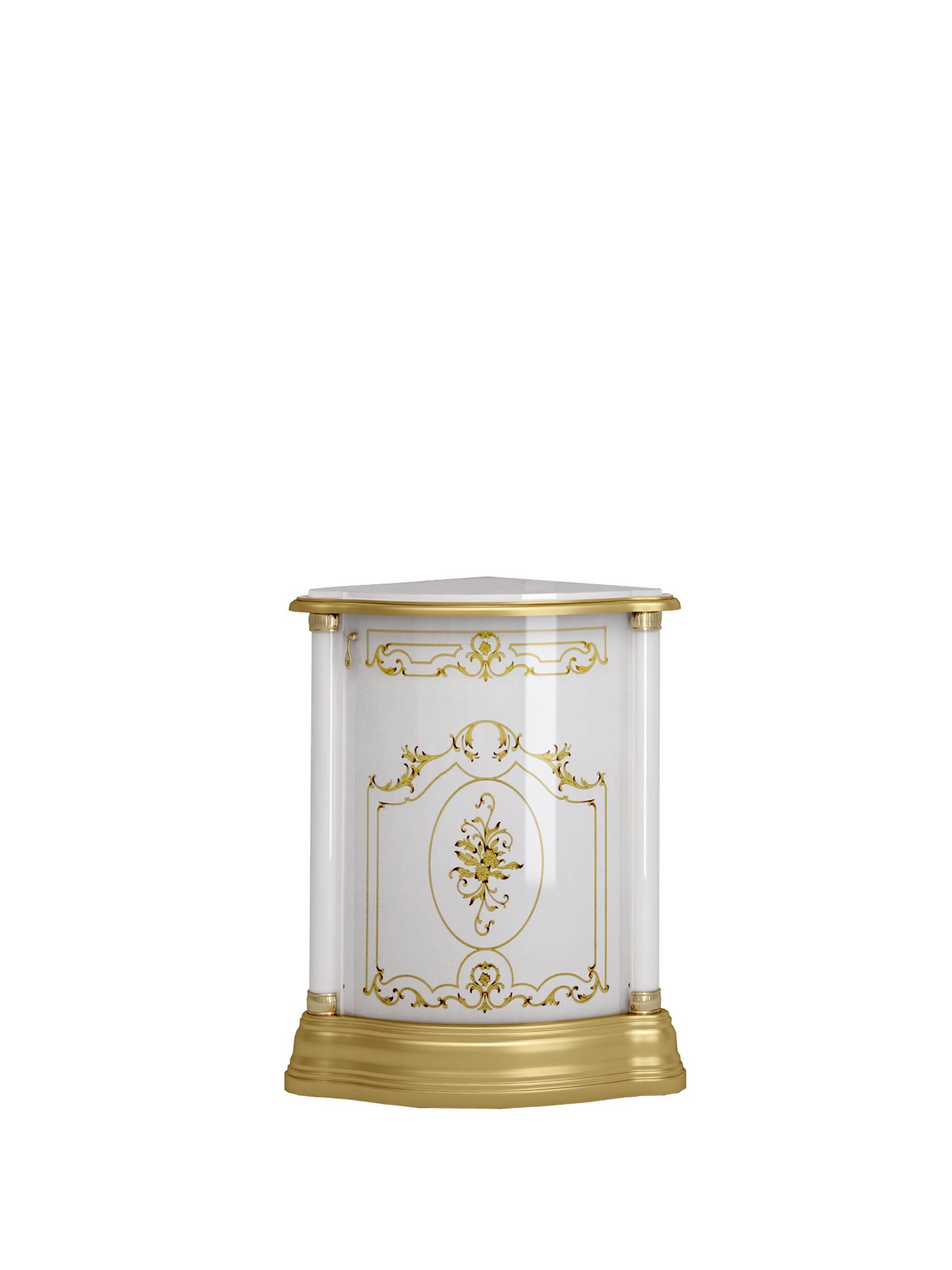 Barock Eckschrank Remo in Weiss/Gold Hochglanz