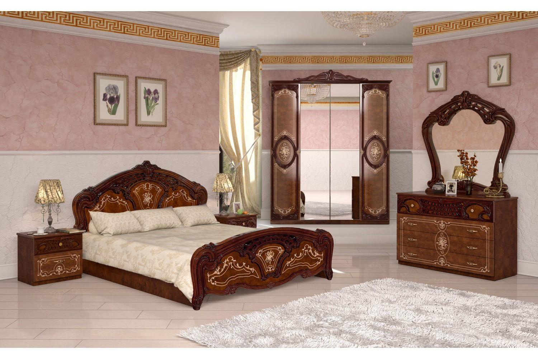 Barock Schlafzimmer Remo in Walnuss 6-Teilig