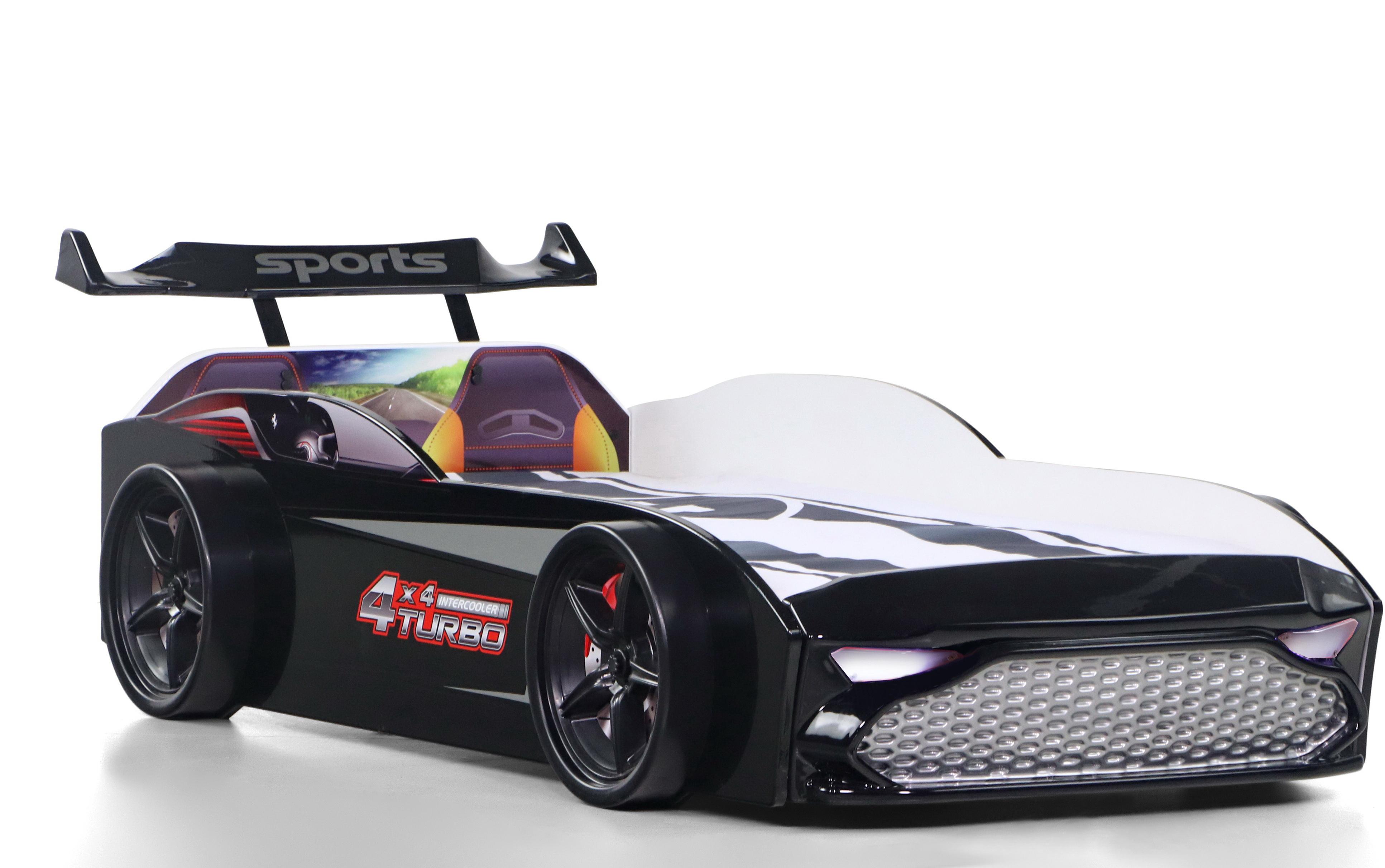 Kinder Autobett GT18 Turbo 4x4 in Schwarz