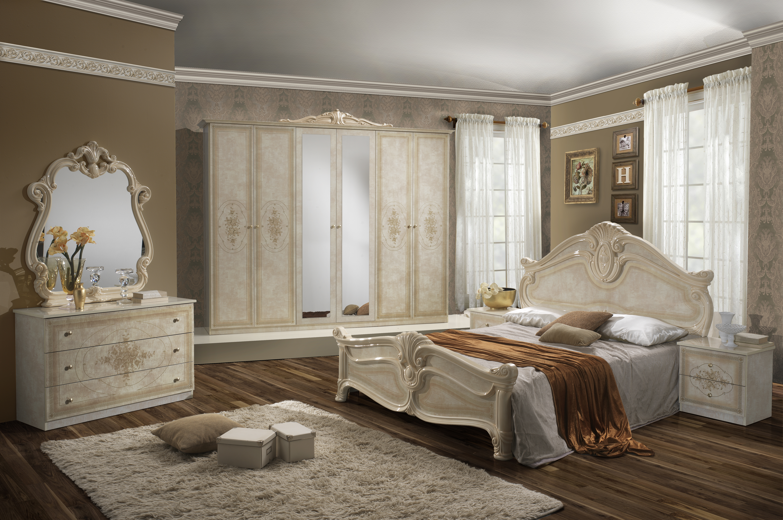 Barock Schlafzimmer Alba in Beige 6-Teilig