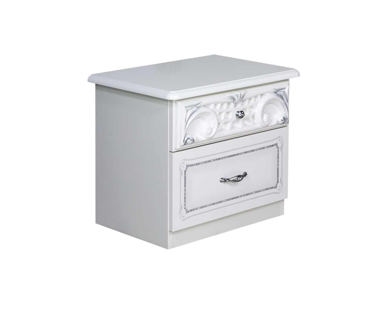 Barock Nachtkommode Remo-Bianco in Weiss/Silber HG Lack