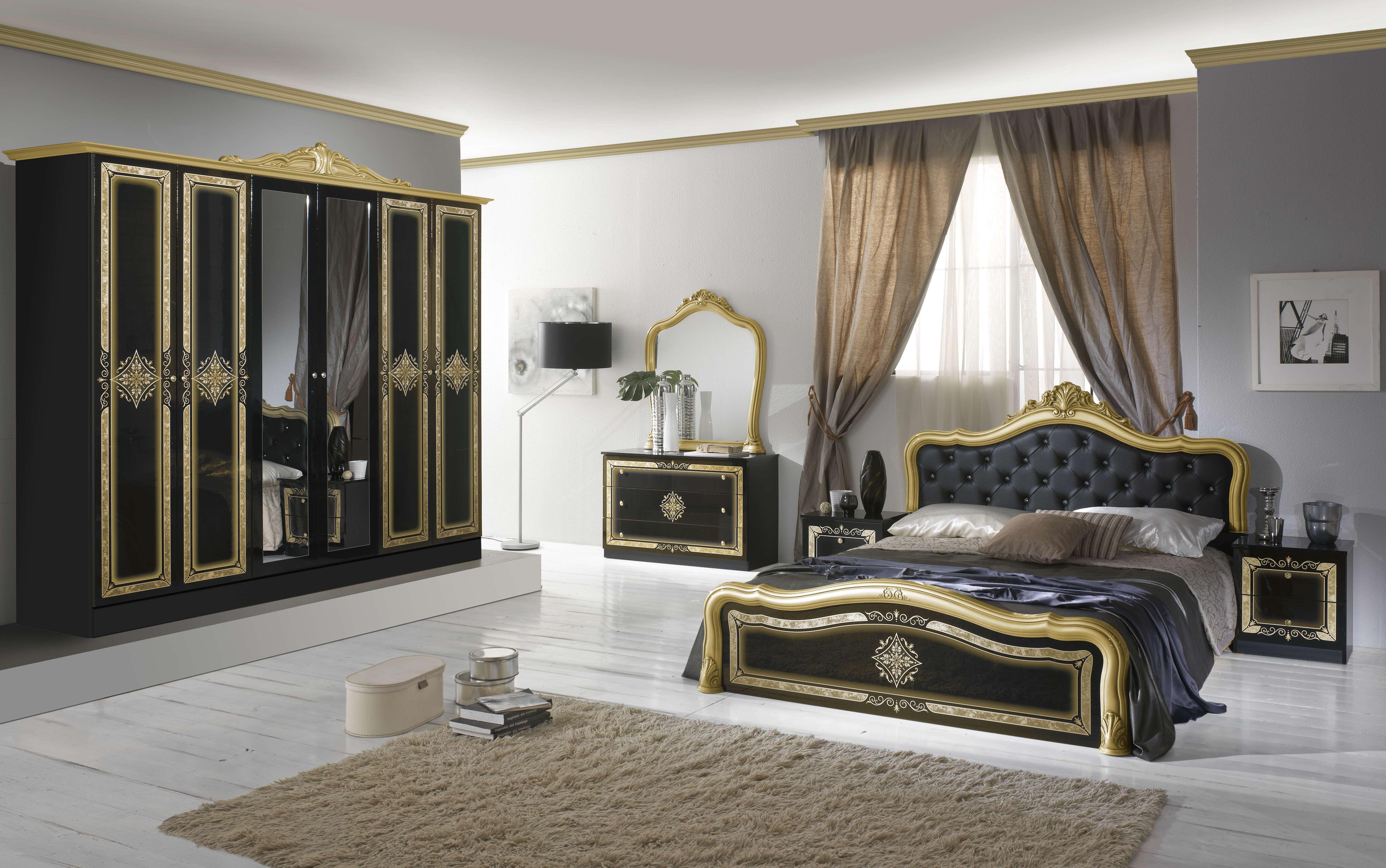 Schlafzimmer Set Livia in Schwarz/Gold 4-Teilig