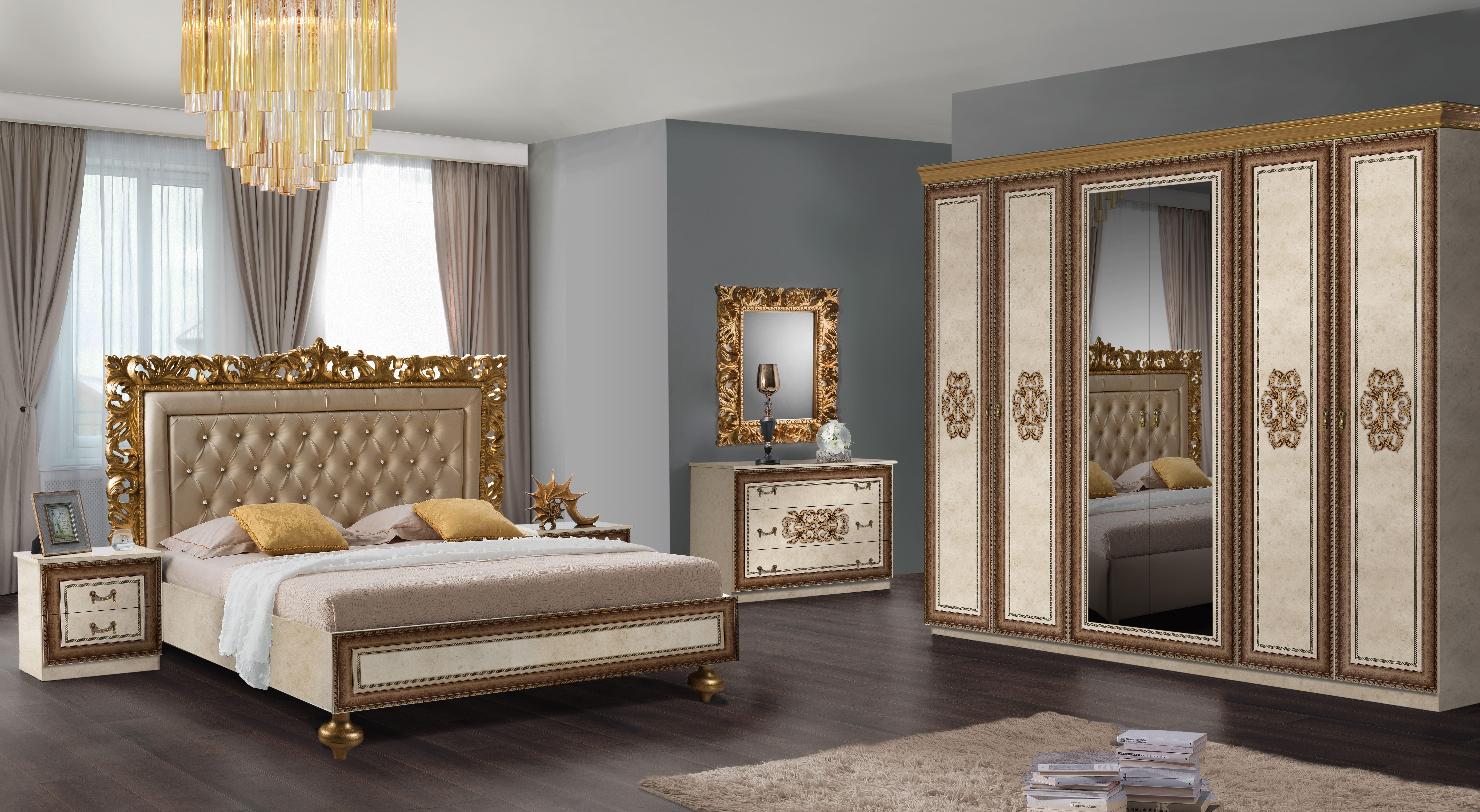 Barock Schlafzimmer Sina in Beige/Gold 6-Teilig
