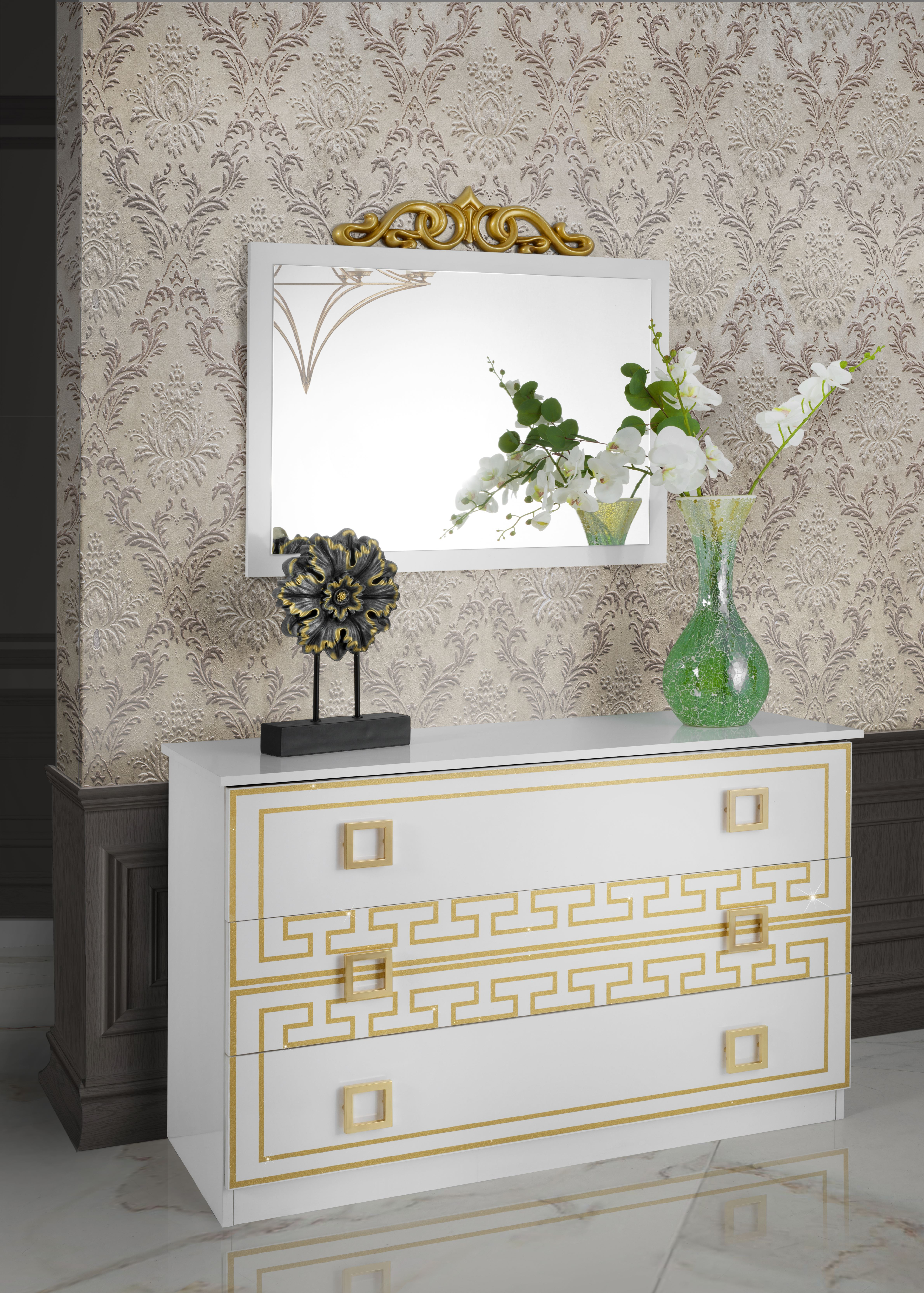 Barock Schlafzimmer Olimpia in Weiss/Gold 6-Teilig