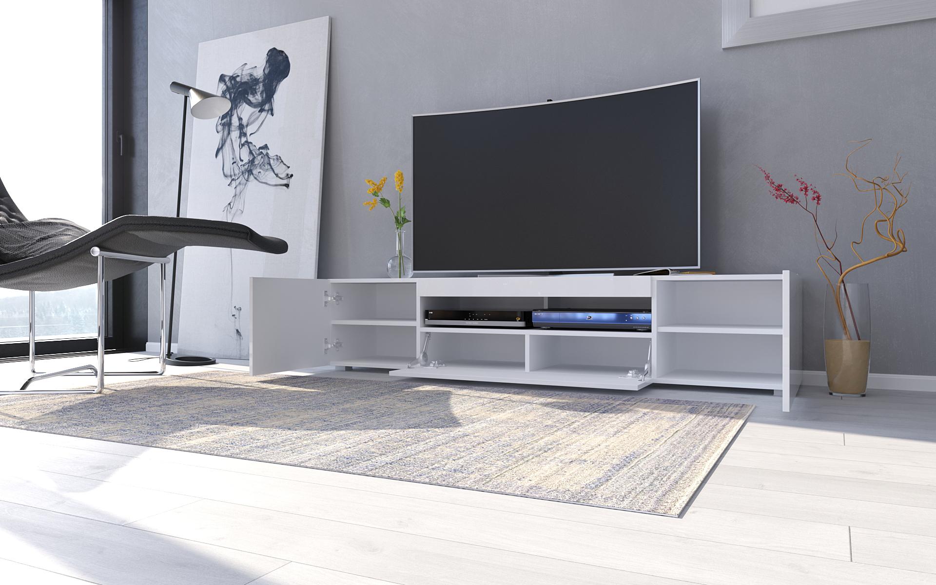 TV-Lowboard Sochi in Weiss Hochglanz 180 cm