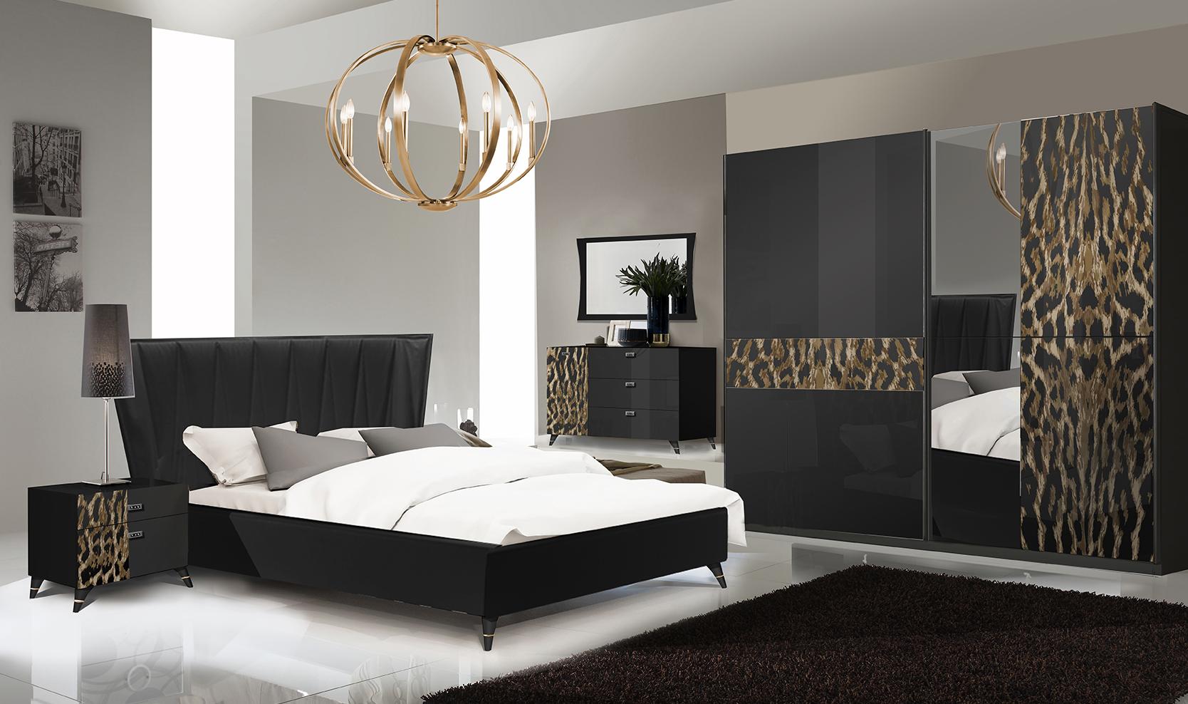 Schlafzimmer Komplett  Set Leo 6-Teilig in Schwarz