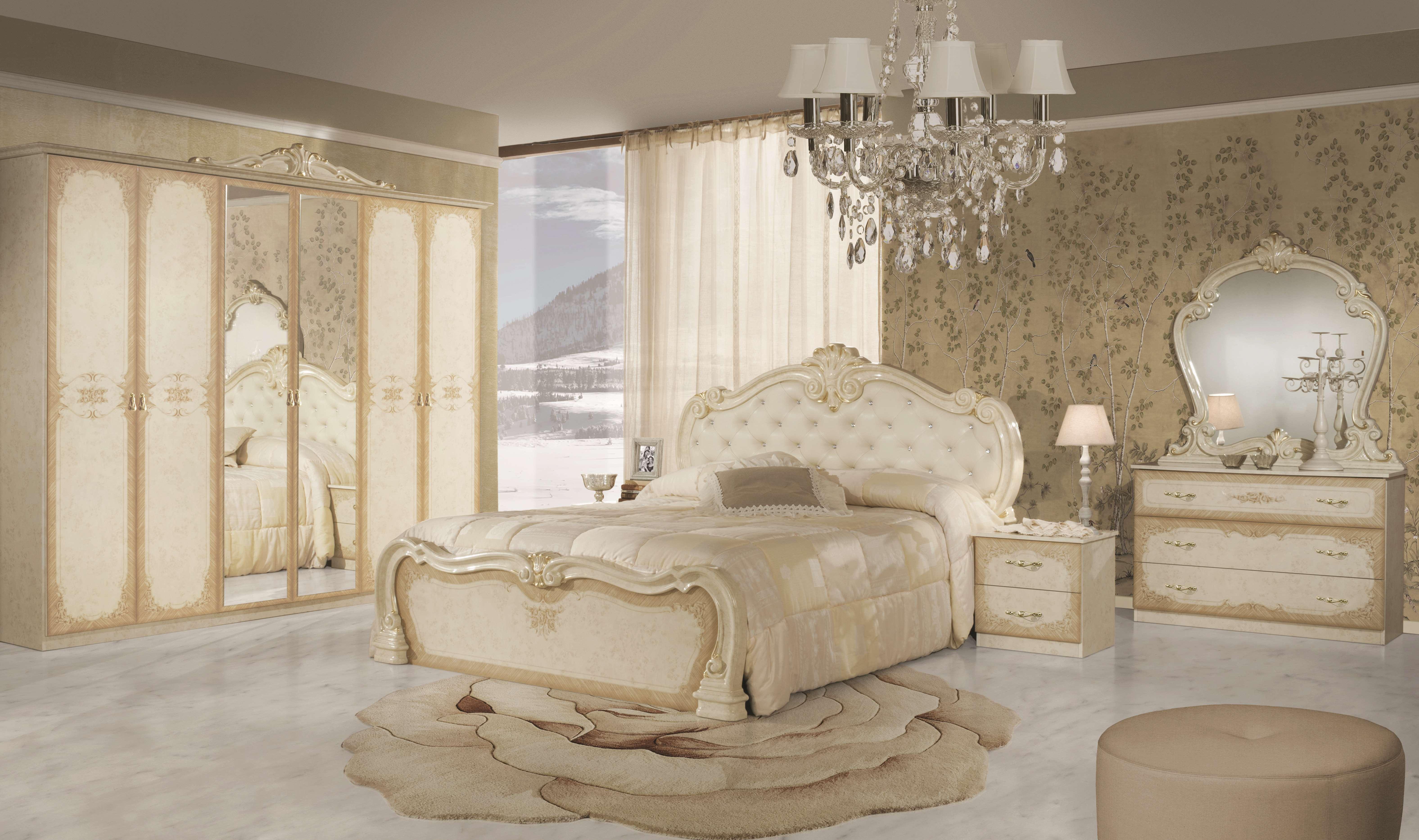 Barock Schlafzimmer Lavinia in Beige 6-Teilig