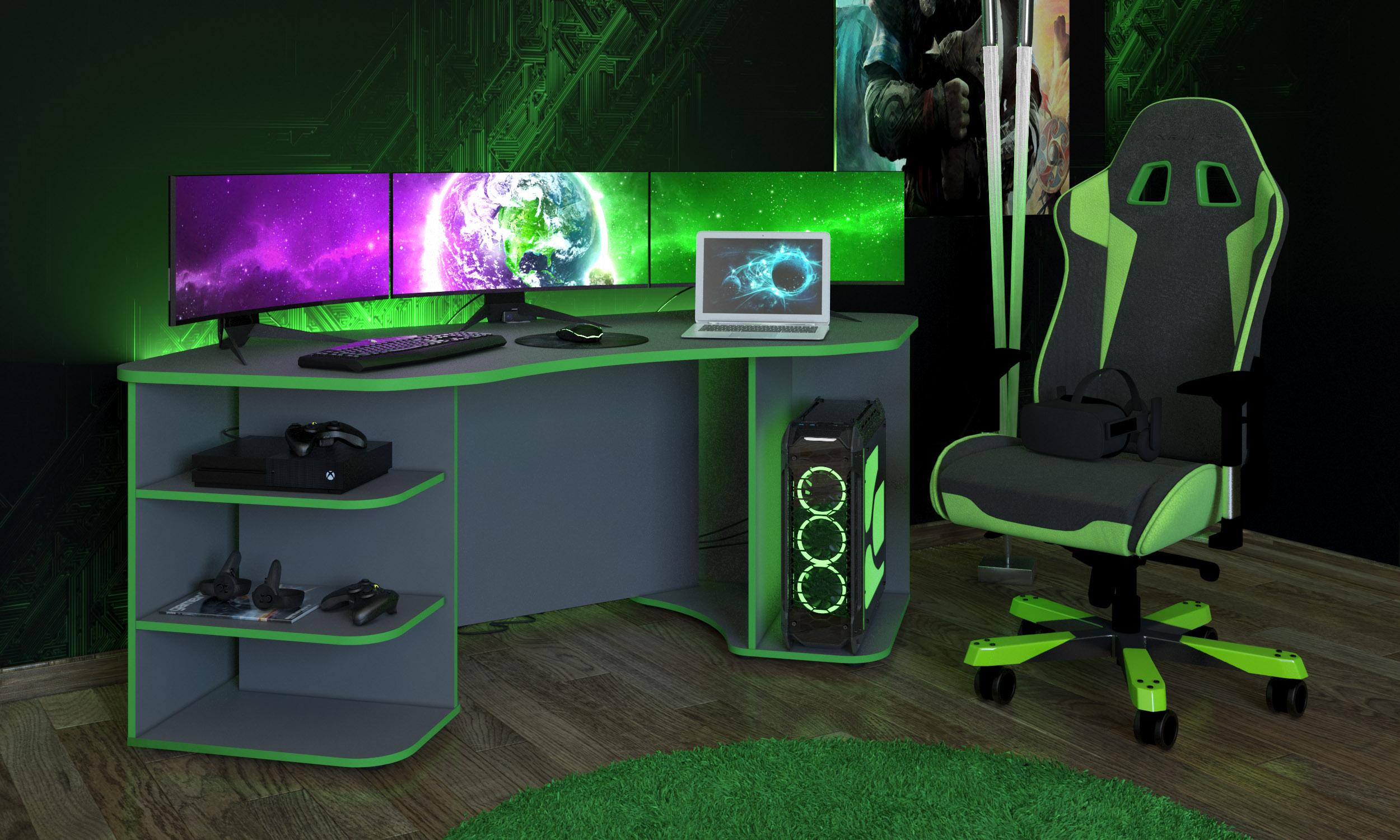 Gamingtisch Xeno, in Anthrazit/Gün für mehrere Monitore