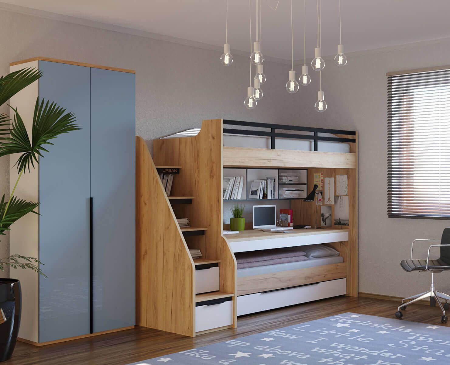 Modernes Jugendzimmer Set mit Etagenbett, Schreibtisch und Kleiderschrank.