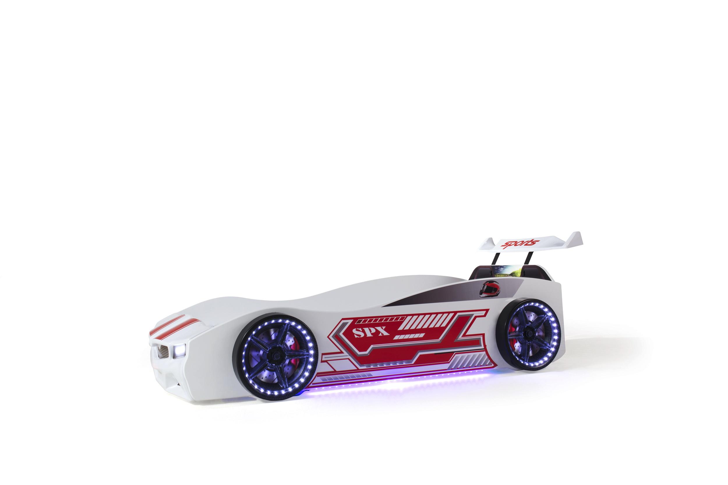 Kinder Autobett Bumer SPX Weiss mit LED Scheinwerfer