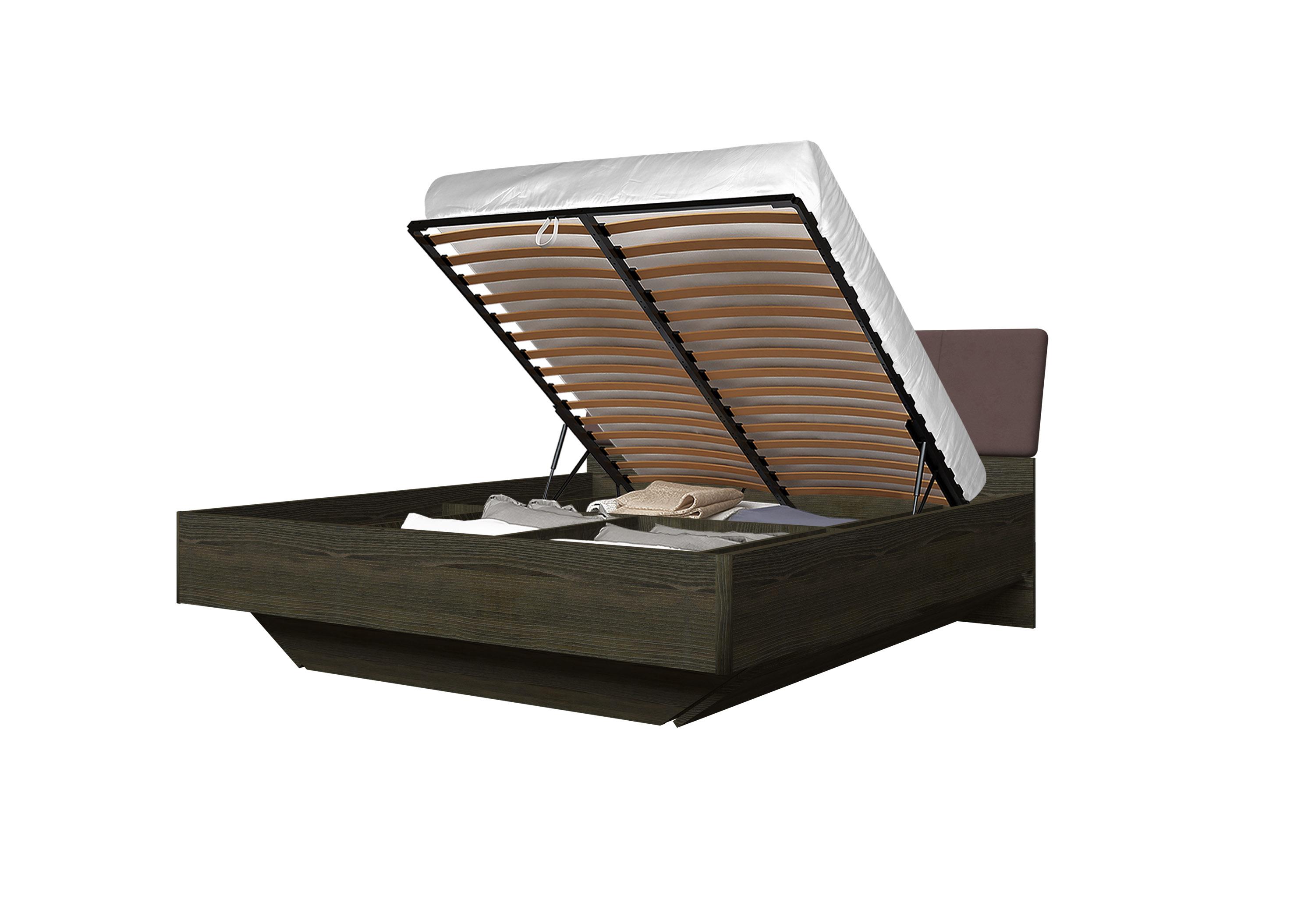 Doppelbett Toskana 180x200 in Dunkle Buche/Braun inkl. Bettkasten