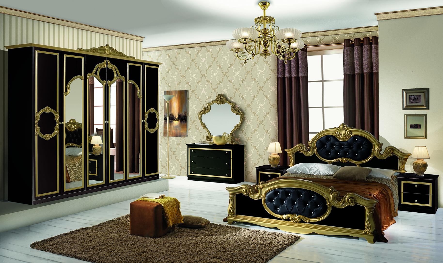 Schlafzimmer Set Barokko in Schwarz/Gold 4-Teilig