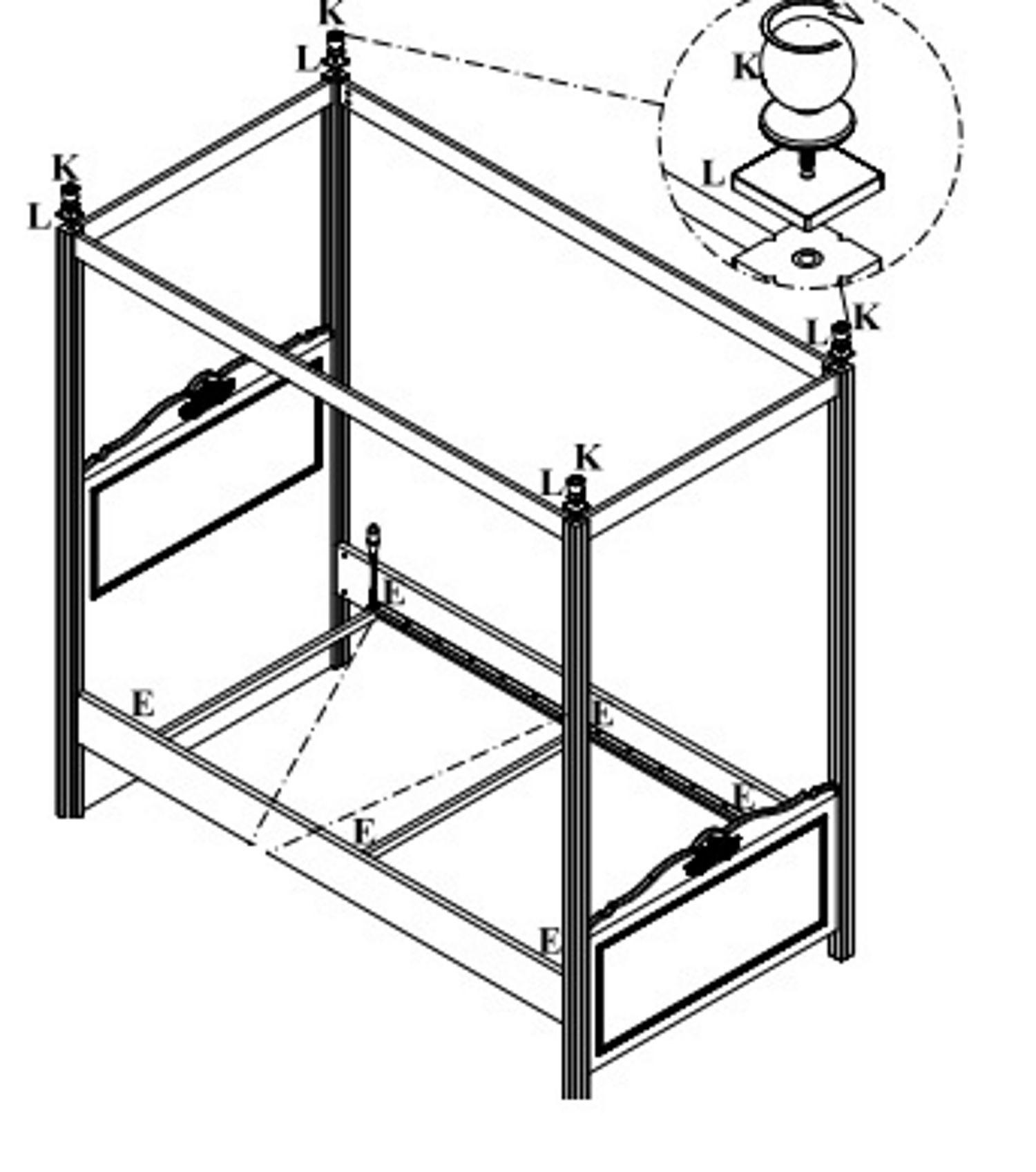 Himmelbett Lory 3-Teilig in Weiss verschiedene Größen