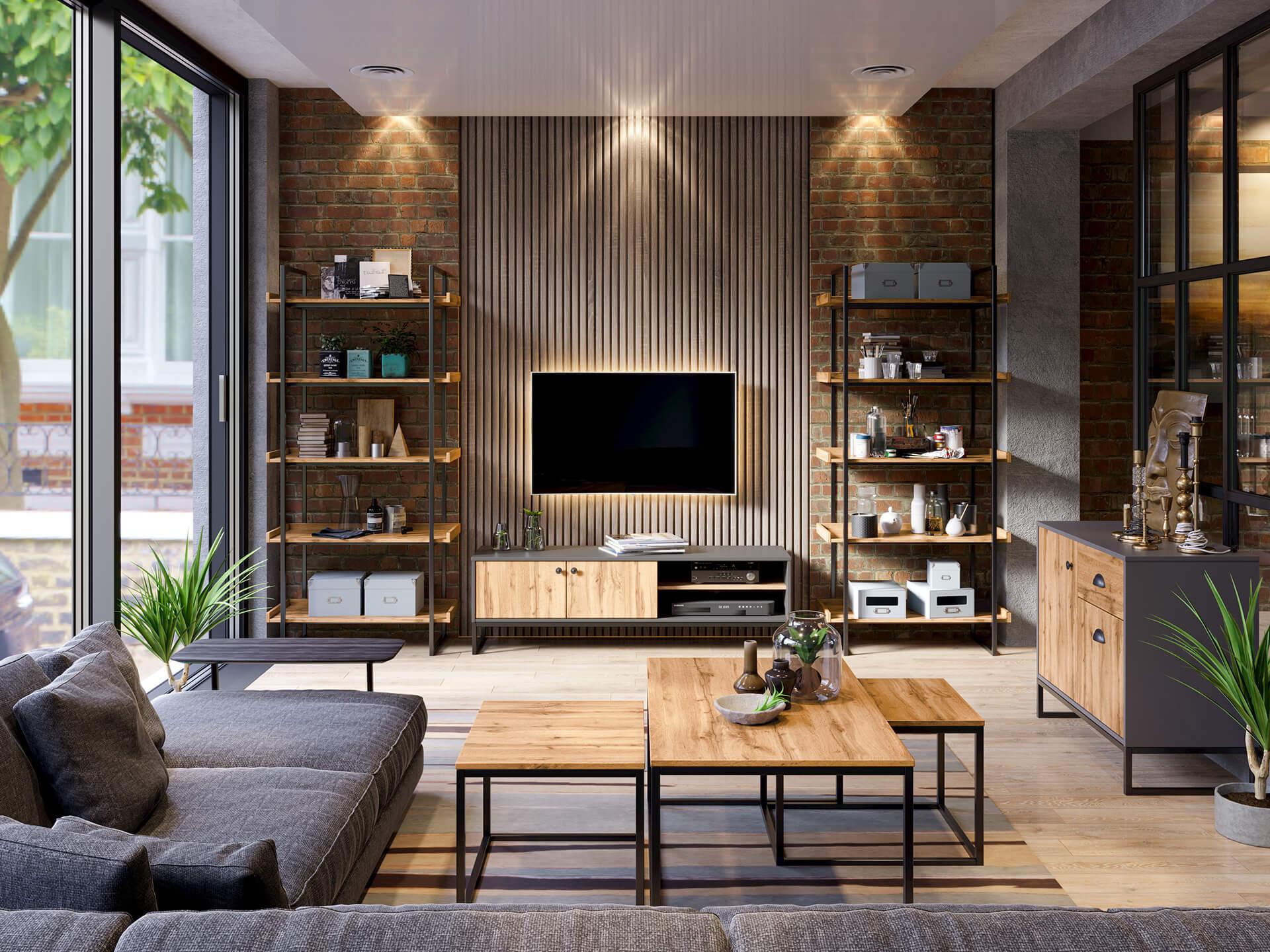 Modernes Wohnzimmer in Grau mit Couchtischen, Ecksofa, Kommode, Regale und Lowboard.