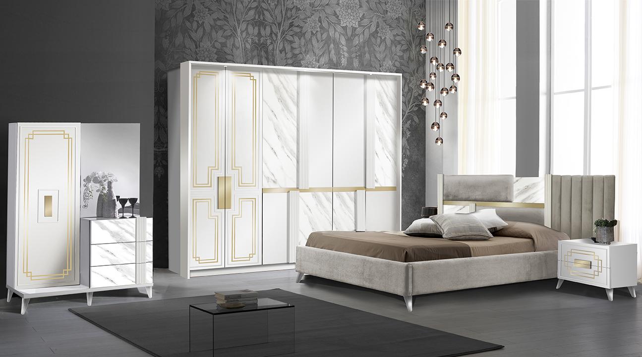 Schlafzimmer Komplett Set Beata in Weiss/Gold 5-Teilig