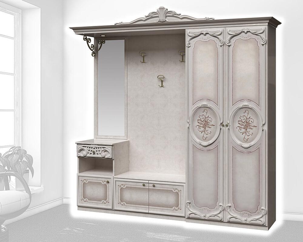 Weiße Barock Garderoben Kombination bestehend aus Spiegel, Garderobe und Schränken.