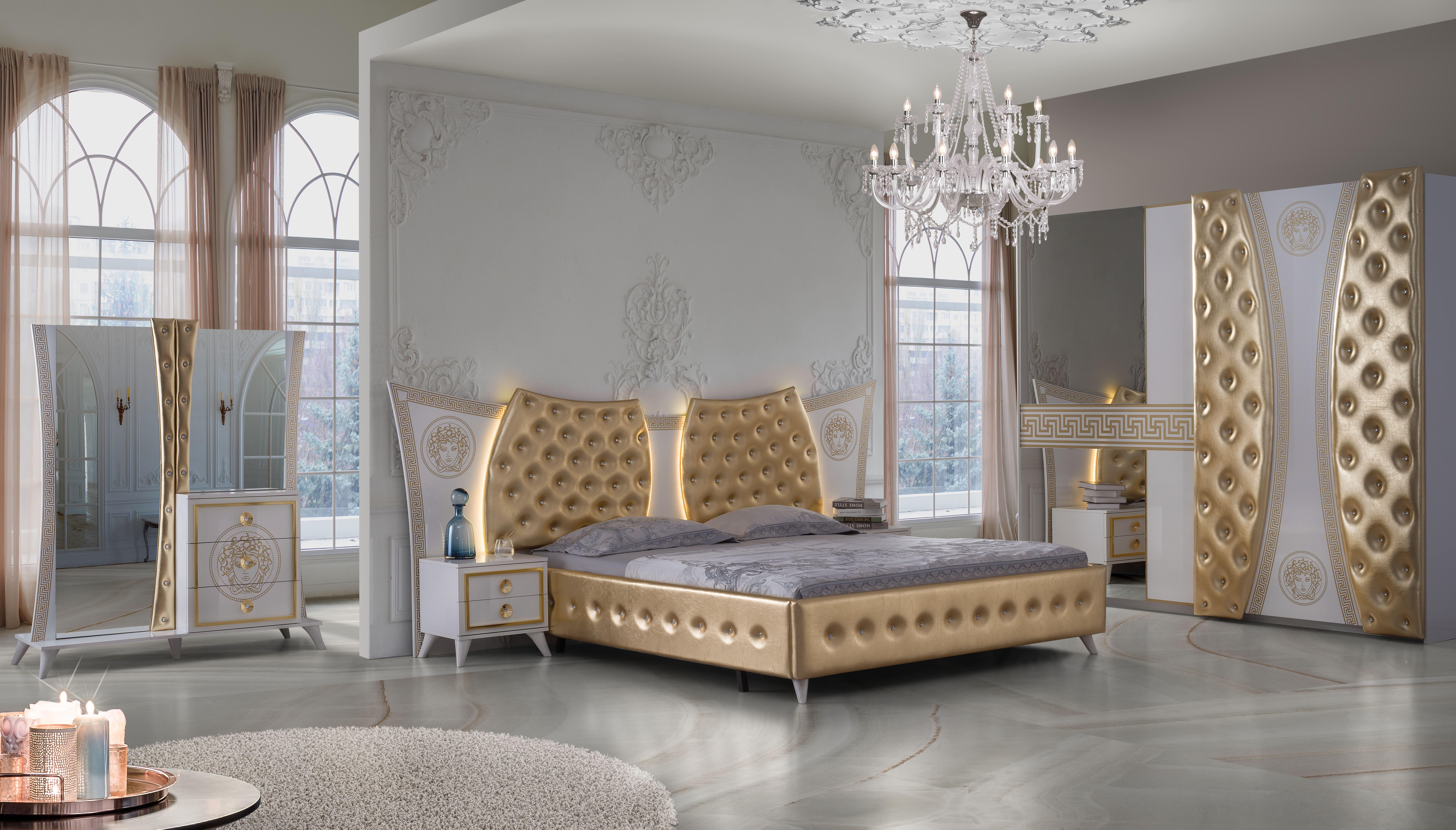 Barock Schlafzimmer Delia in Weiss/Gold 5-Teilig