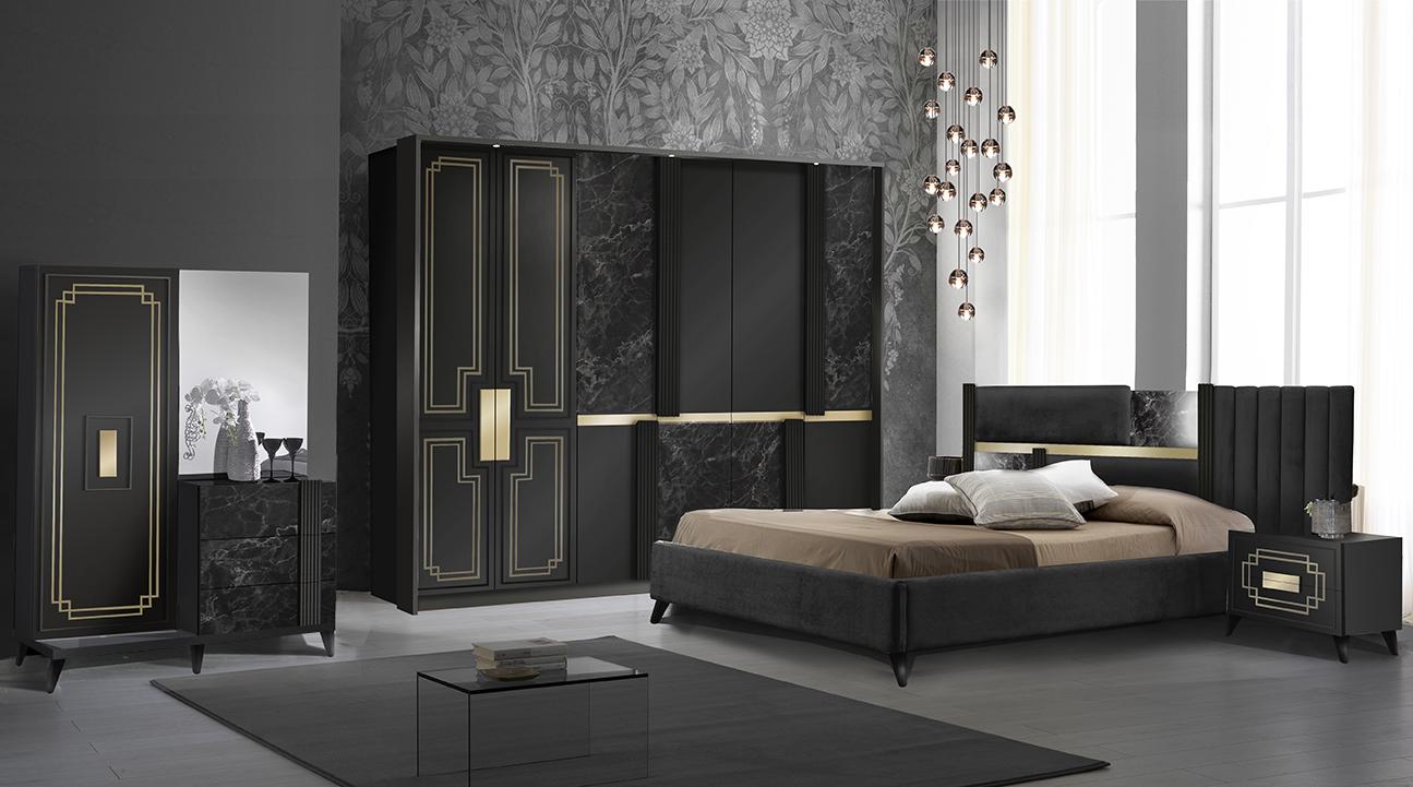 Schlafzimmer Komplett Set Beata in Schwarz/Gold 5-Teilig