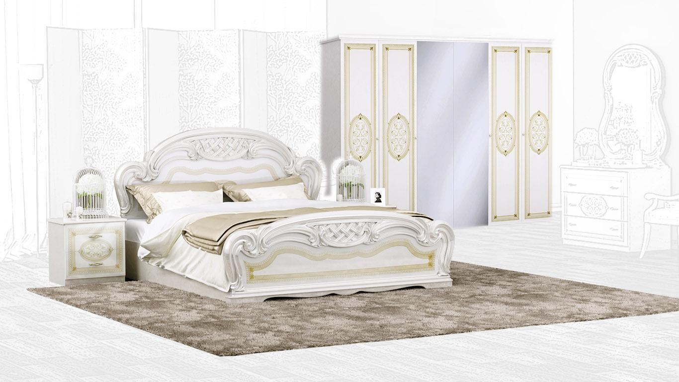 Barock Schlafzimmer Set Lara Beige 4-Teilig