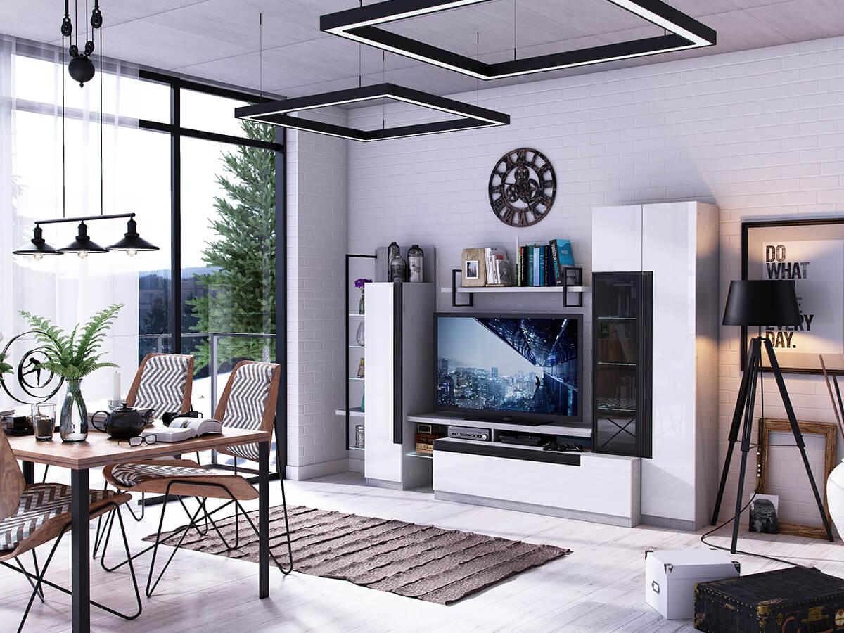 Moderne Esszimmer Gruppe aus Holz und Stahl und Wohnwand mit schwarzen Zierelementen.