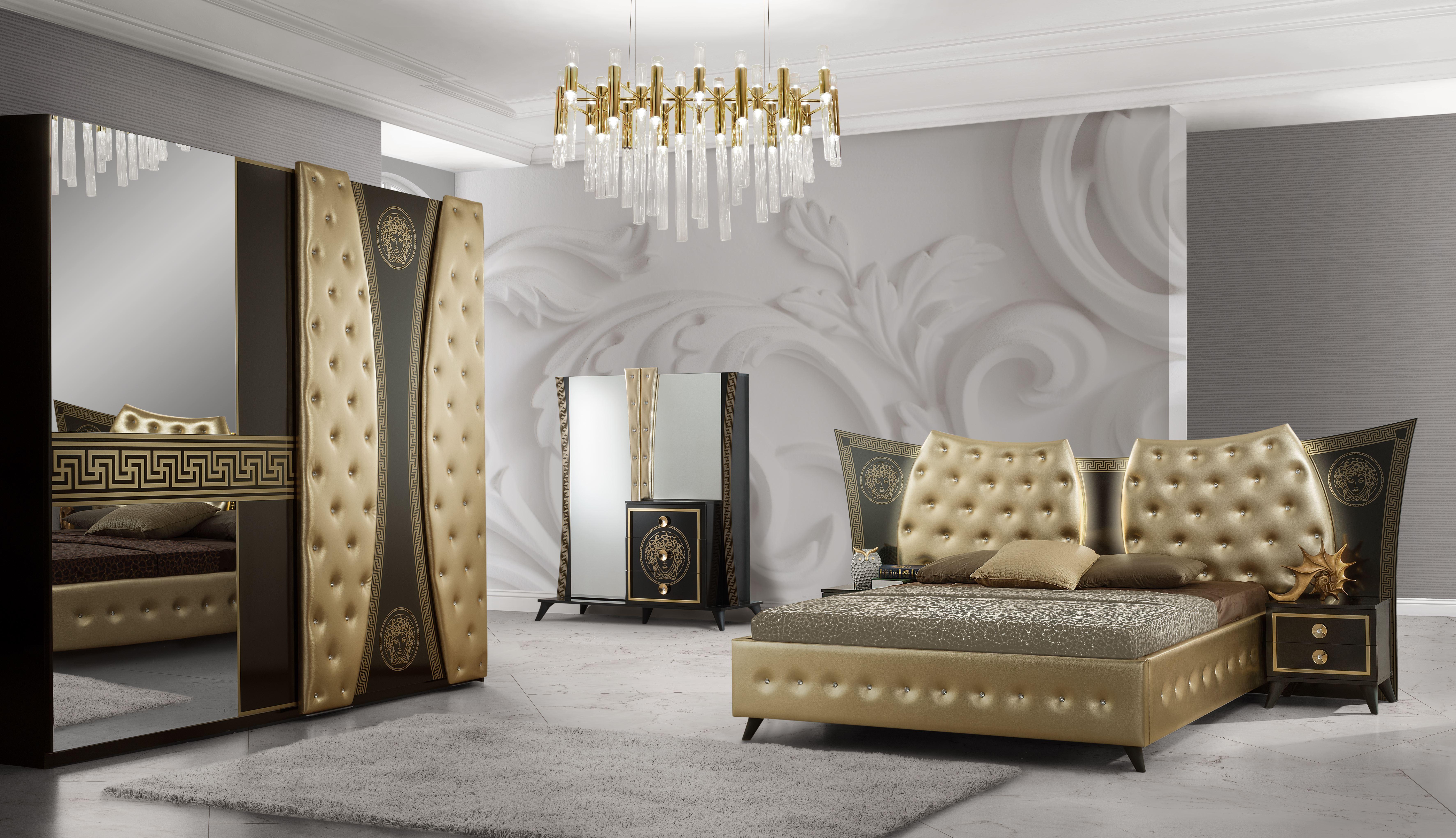 Barock Schlafzimmer Delia in Schwarz/Gold 5-Teilig