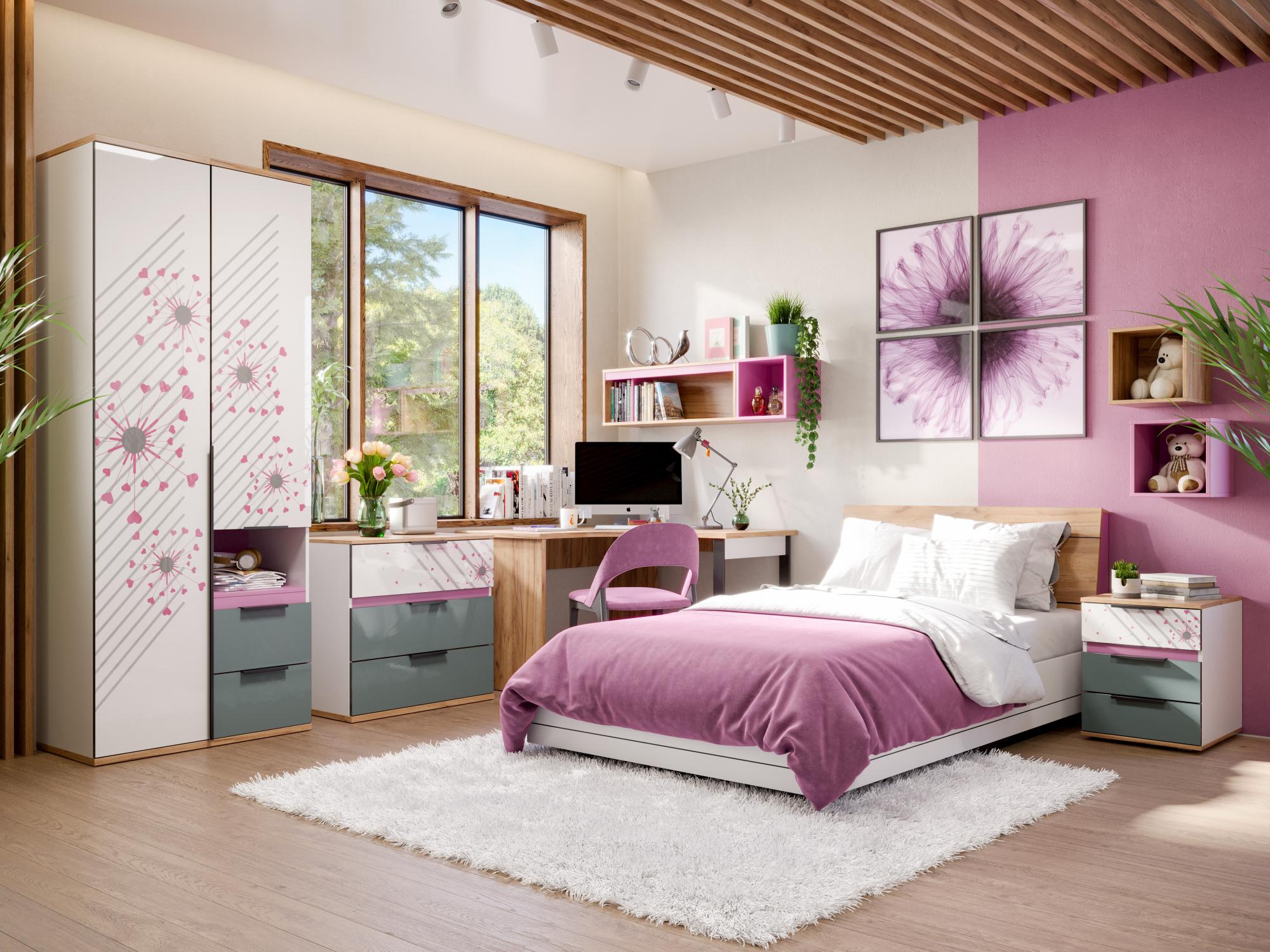 Schönes Mädchenzimmer in Weiß, Grau und Rosa bestehend aus Schrank, Kommode, Eckschreibtisch, Bett und Nachtisch.