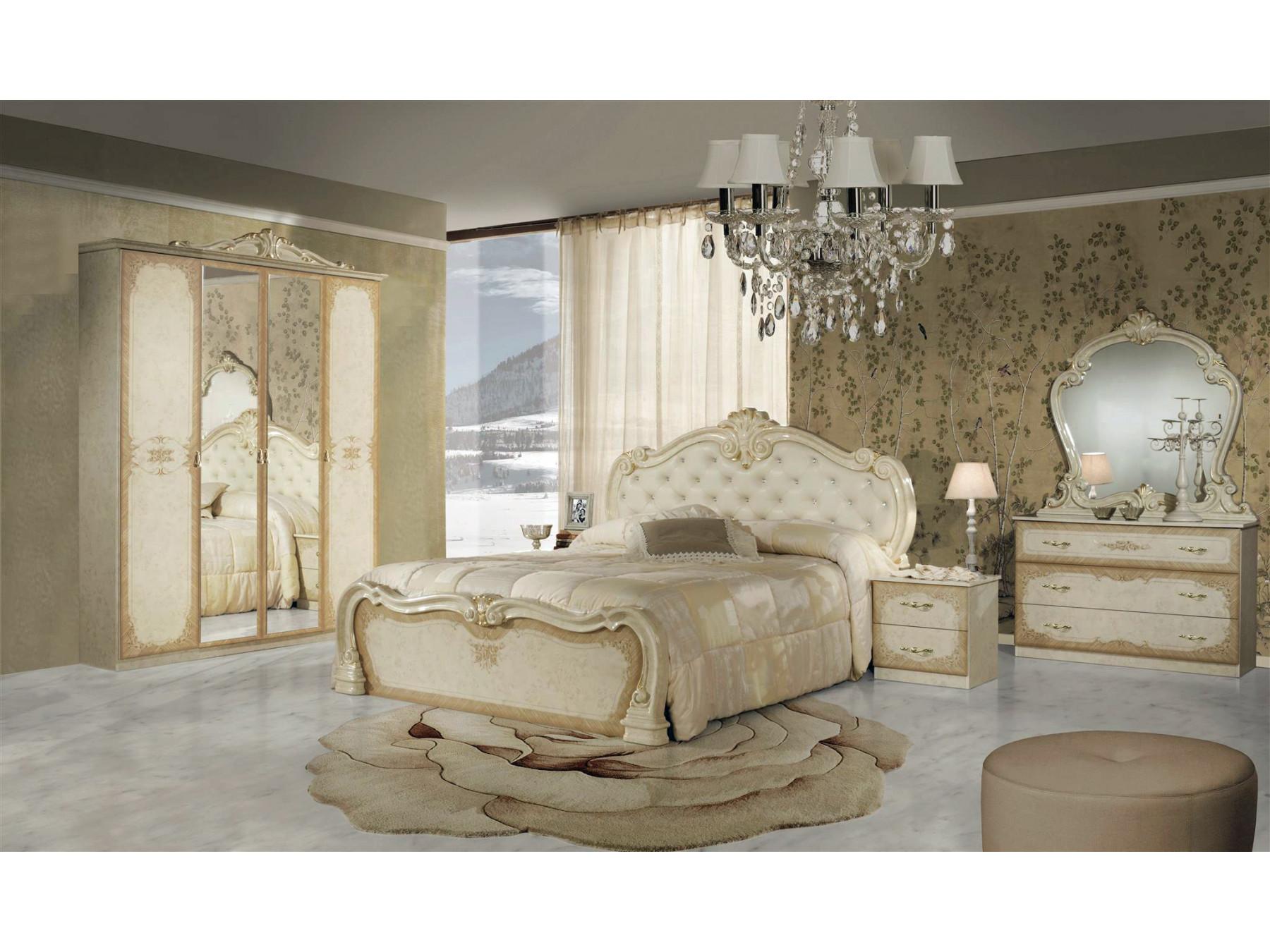 Barock Schlafzimmer Set Lavinia in Beige 4-Teilig