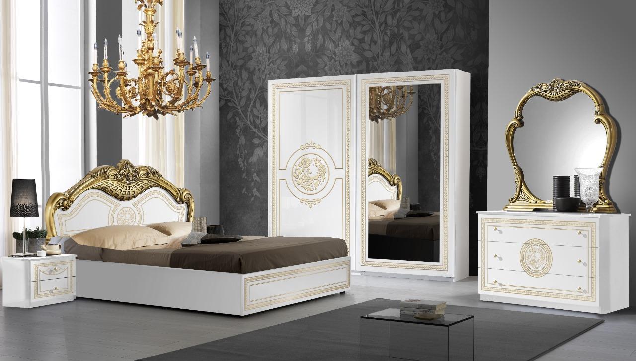 Barock Schlafzimmer Bianca in Weiss/Gold 6-Teilig