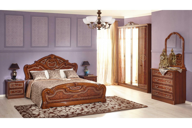 Barock Schlafzimmer Granda in Walnuss 6-Teilig