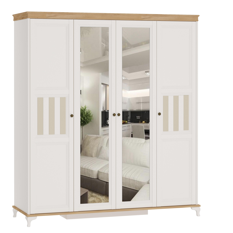 Kleiderschrank 4-Türig Villagio inkl. 2-Spiegeltüren