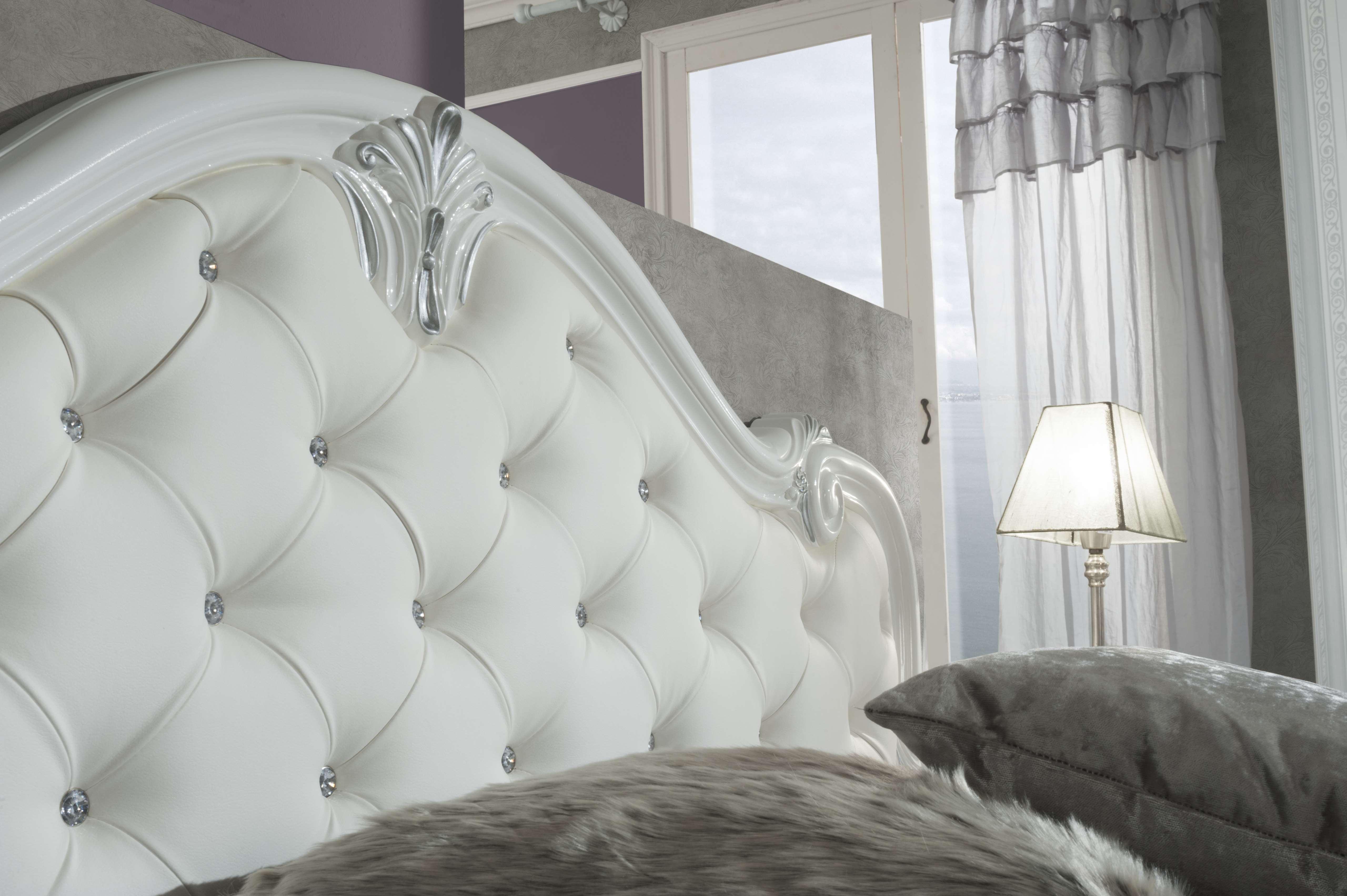 Barock Schlafzimmer Set Livia in Weiss 4-Teilig