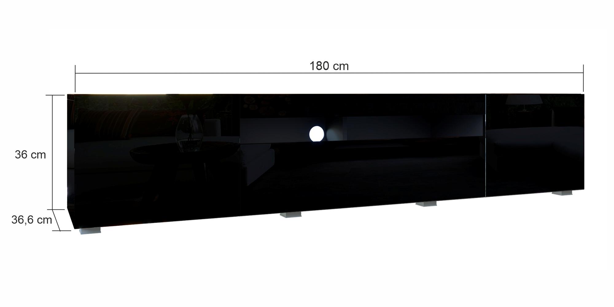 TV-Lowboard Sochi in Schwarz Hochglanz 180 cm