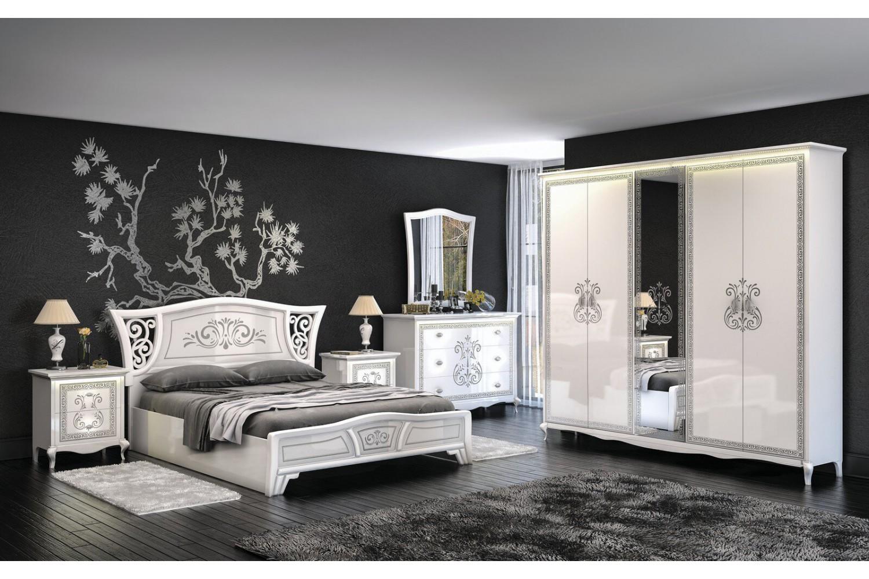 Italienisches Schlafzimmer Vittore in Weiss 6-Teilig