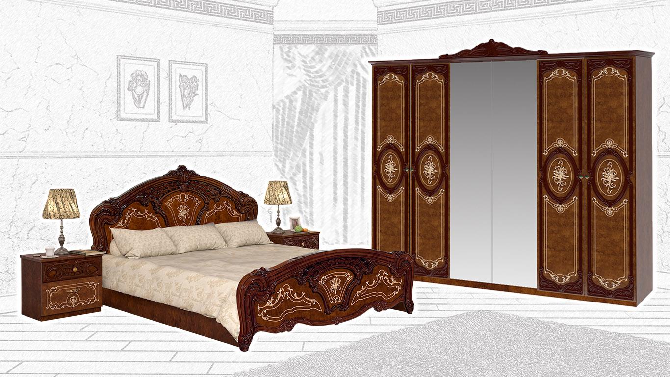 Barock Schlafzimmer Set Remo in Walnuss Hochglanz 4-Teilig