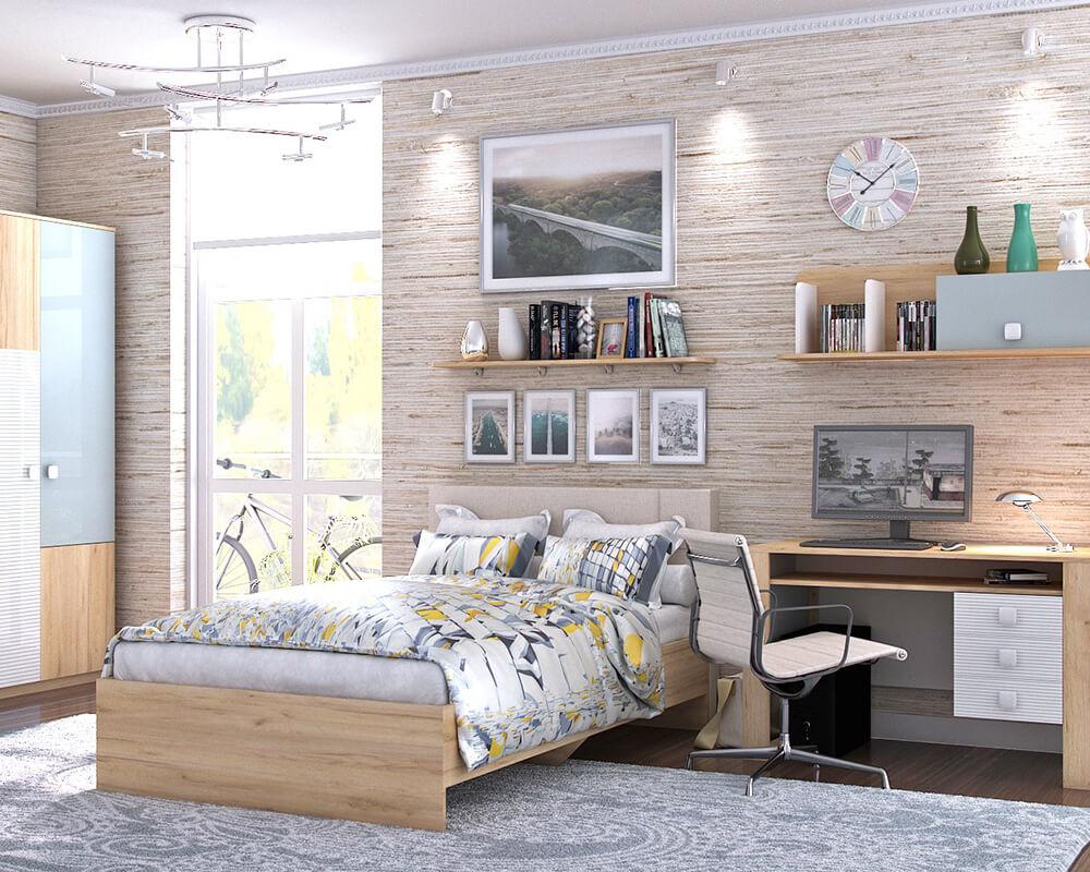 Modernes Jugendzimmer bestehend aus Kleiderschrank, Bett, Wandregalen, Schreibtisch und Bürostuhl.