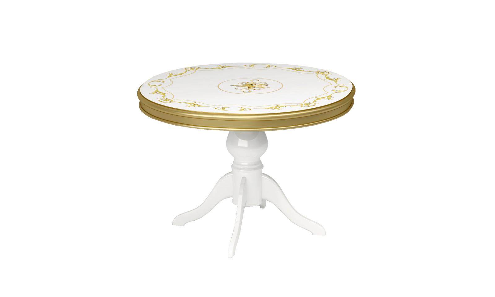 Barock Design Esstisch Remo in Weiss/Gold Teilmassiv