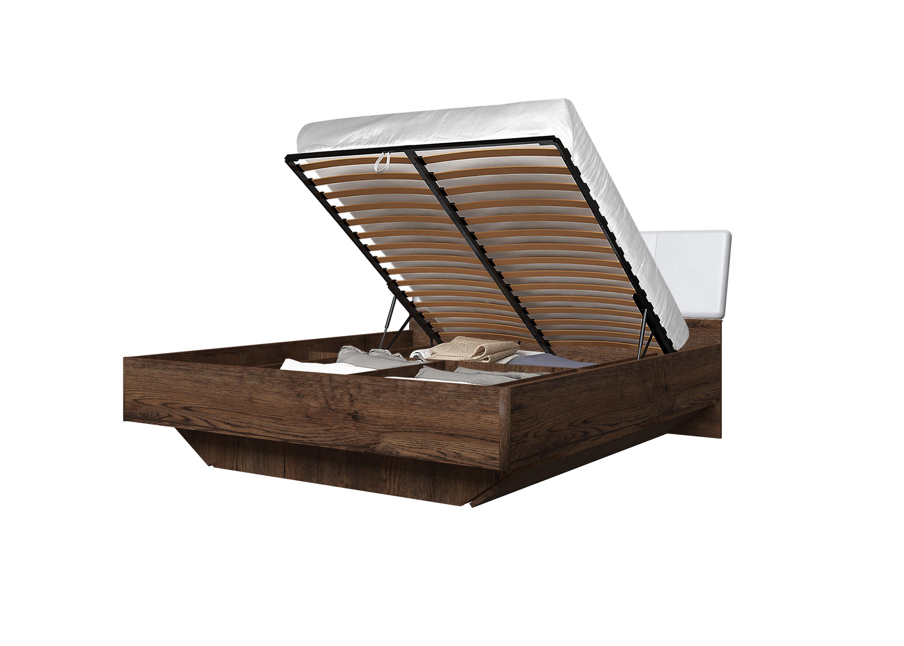 Doppelbett Toskana 180x200 in Dunkle Eiche/Weiss inkl. Bettkasten