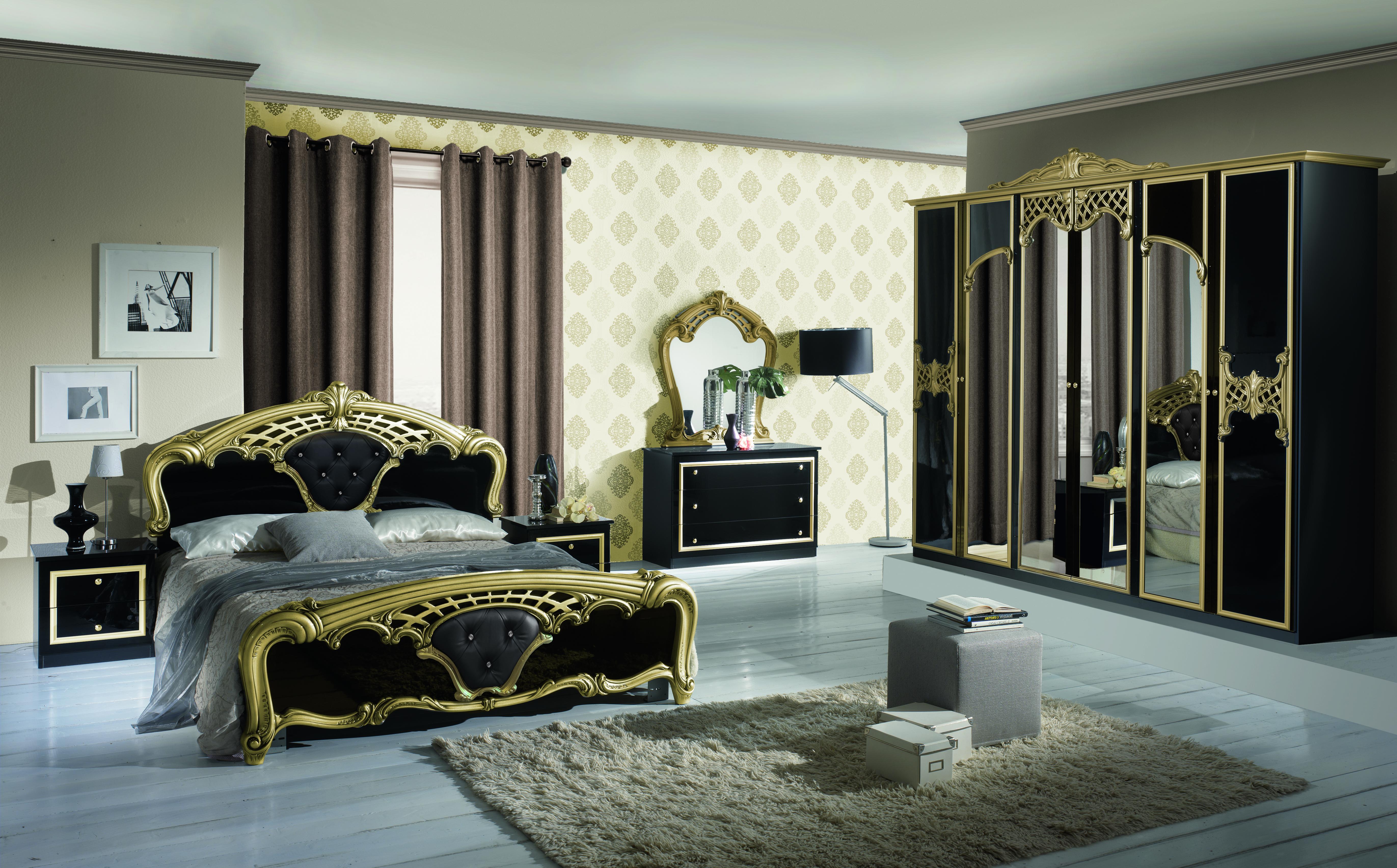 Barock Schlafzimmer Set Elena in Schwarz/Gold 4-Teilig