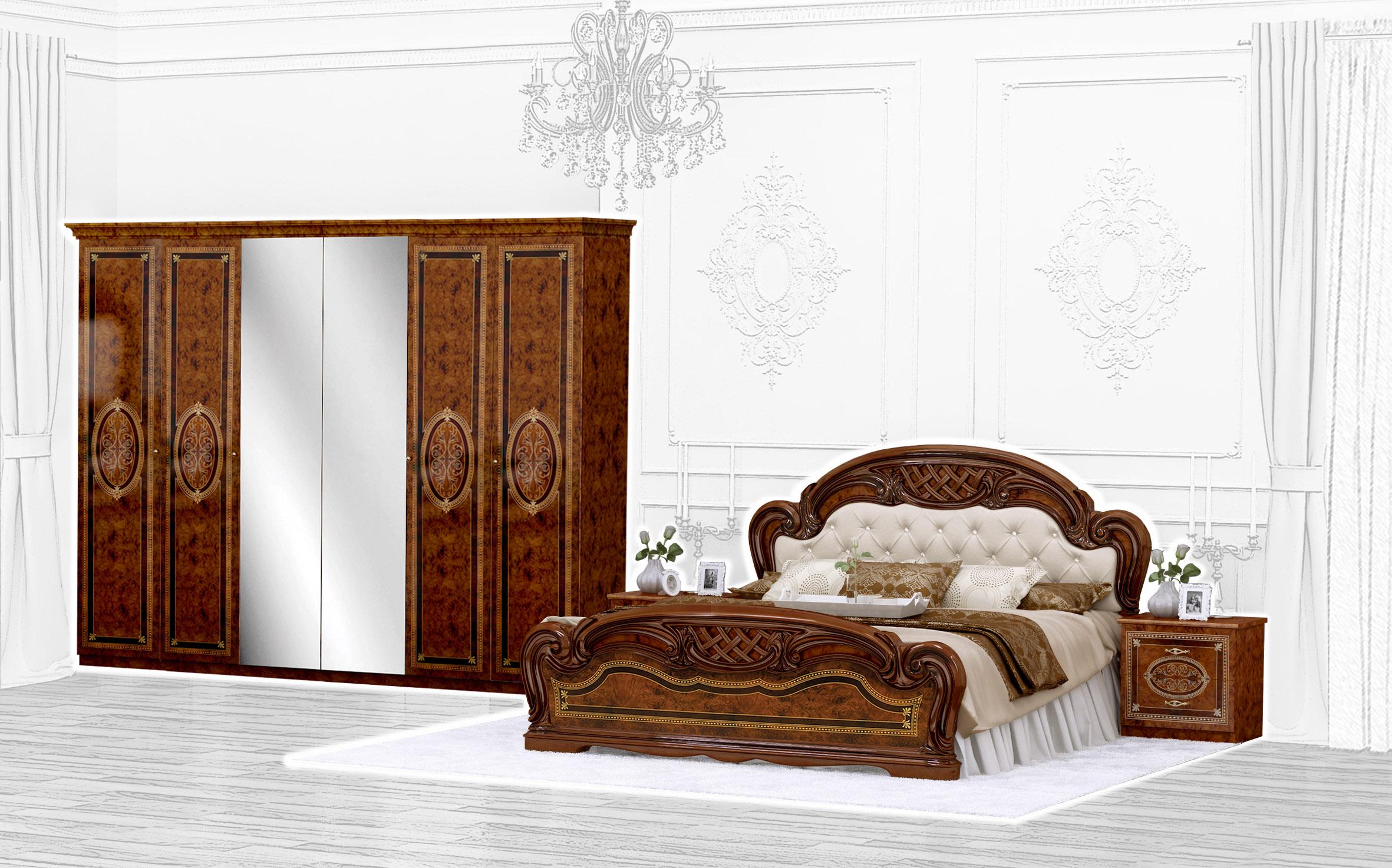 Barock Schlafzimmer Set Lara 1 in Walnuss 4-Teilig inkl. Polsterung