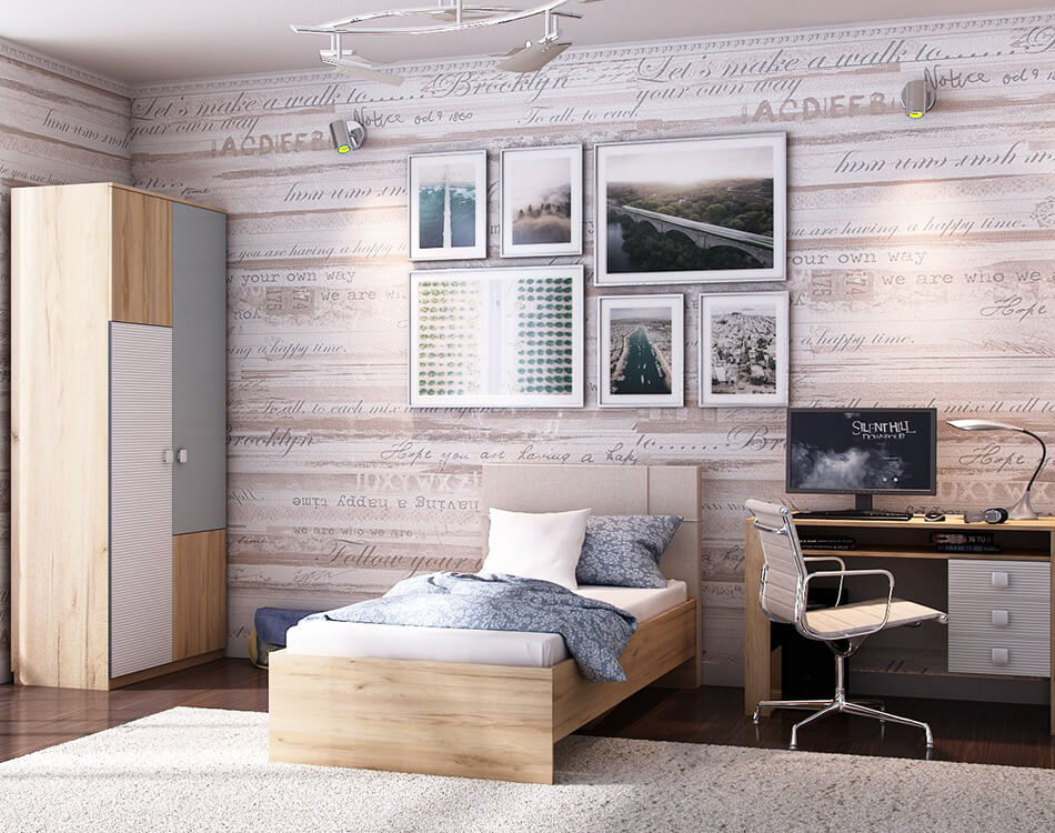 Modernes Jugendzimmer Set bestehend aus Kleiderschrank, Bett, Schreibtisch und Bürostuhl.