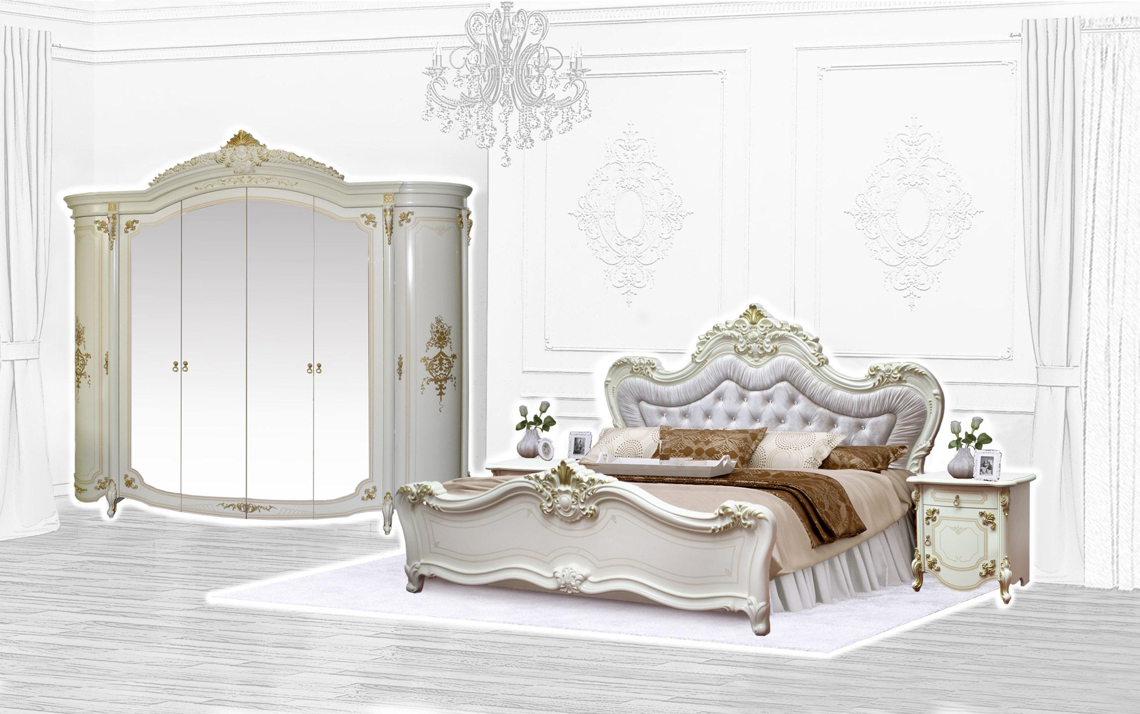 Barock Schlafzimmer Adriana in Beige 4-Teilig
