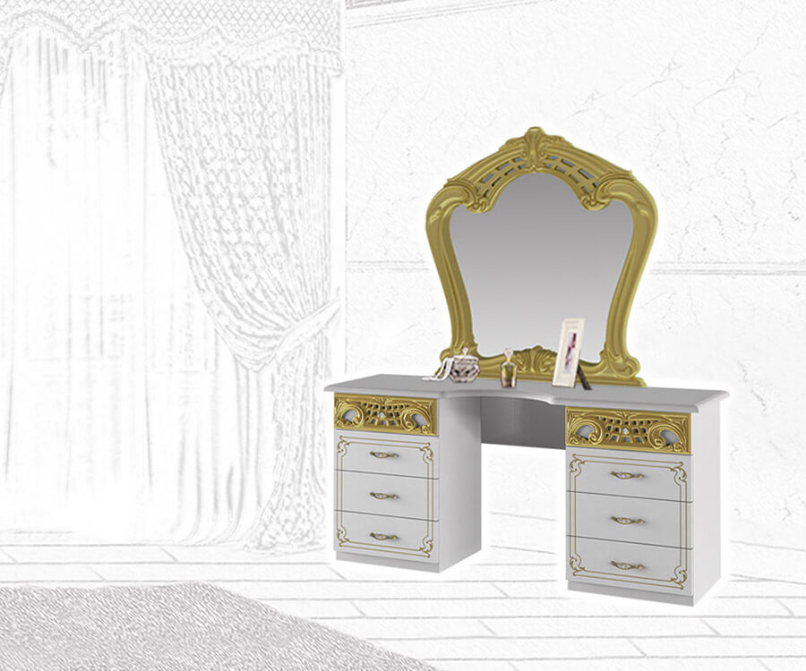 Barock Schminktisch mit Spiegel in Weiß und Gold.