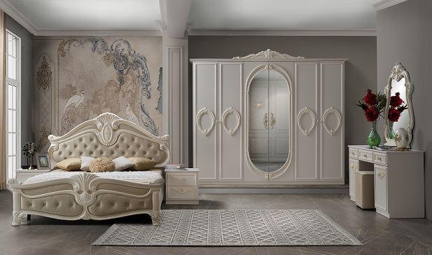 Barock Schlafzimmer Noana in Beige 7-Teilig