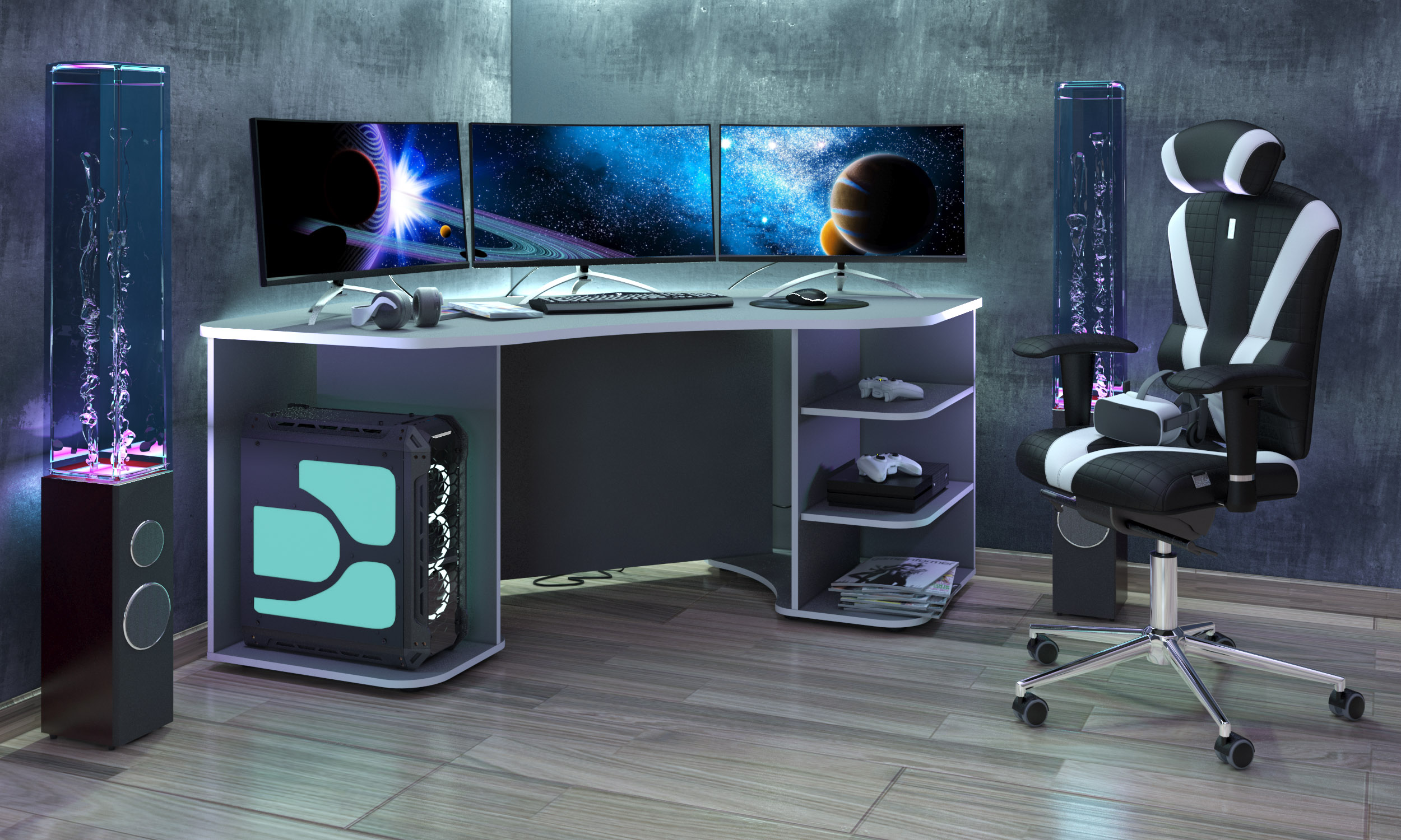 Gamingtisch Xeno, in Anthrazit/Weiss für mehrere Monitore