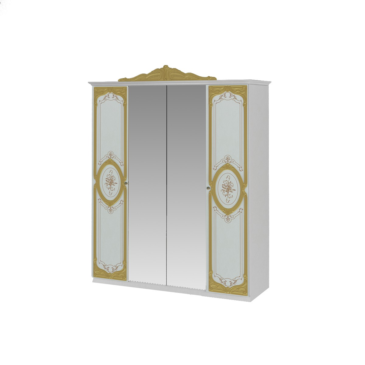 Barock Schlafzimmer Remo in Weiss/Gold 6-Teilig
