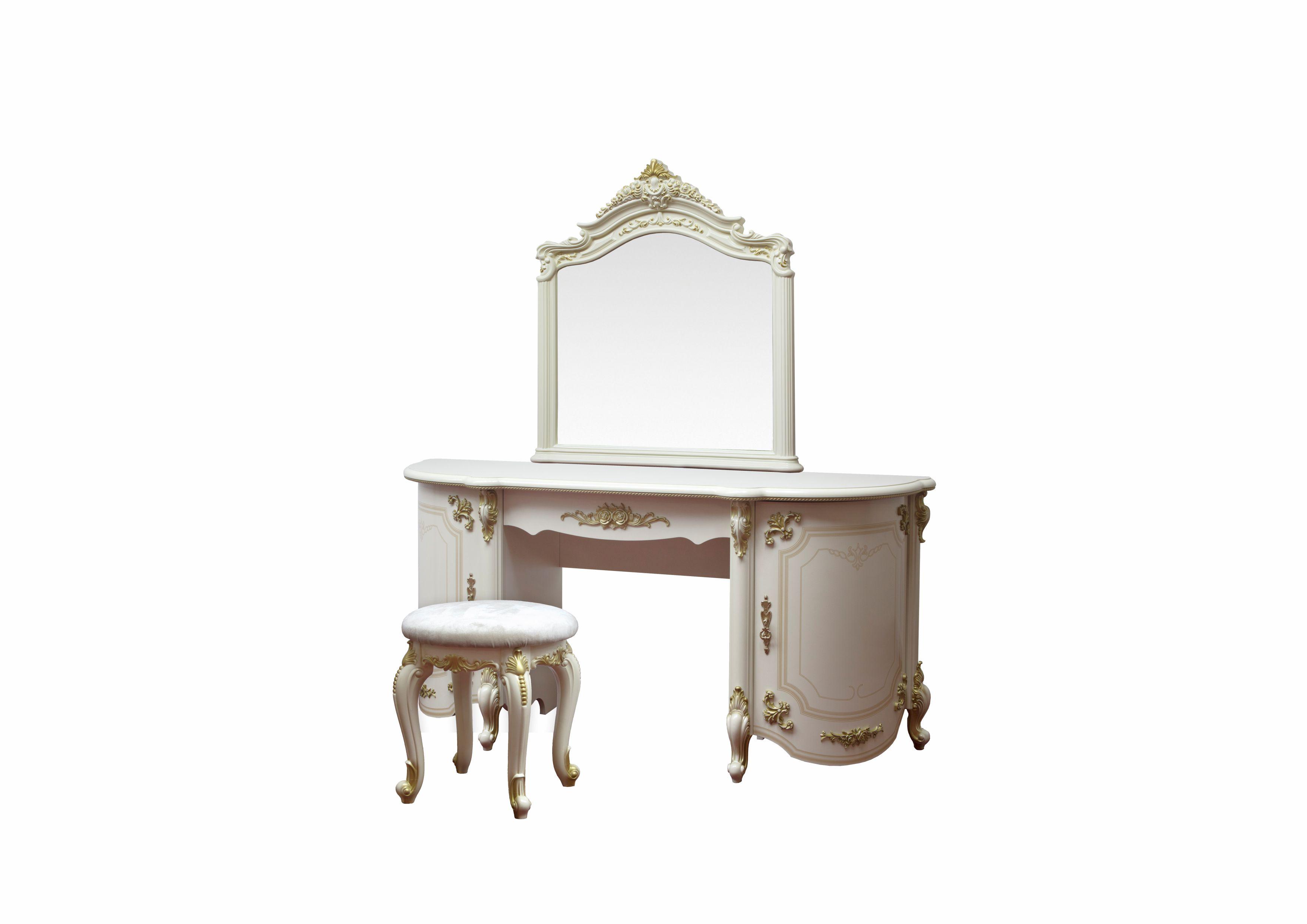 Barock Schminktisch Adriana 3-Teilig inkl. Wandspiegel und Sitzhocker