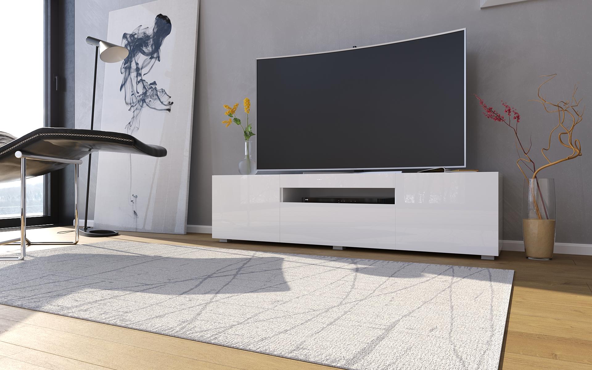 TV-Lowboard Sochi in Weiss Hochglanz 150 cm