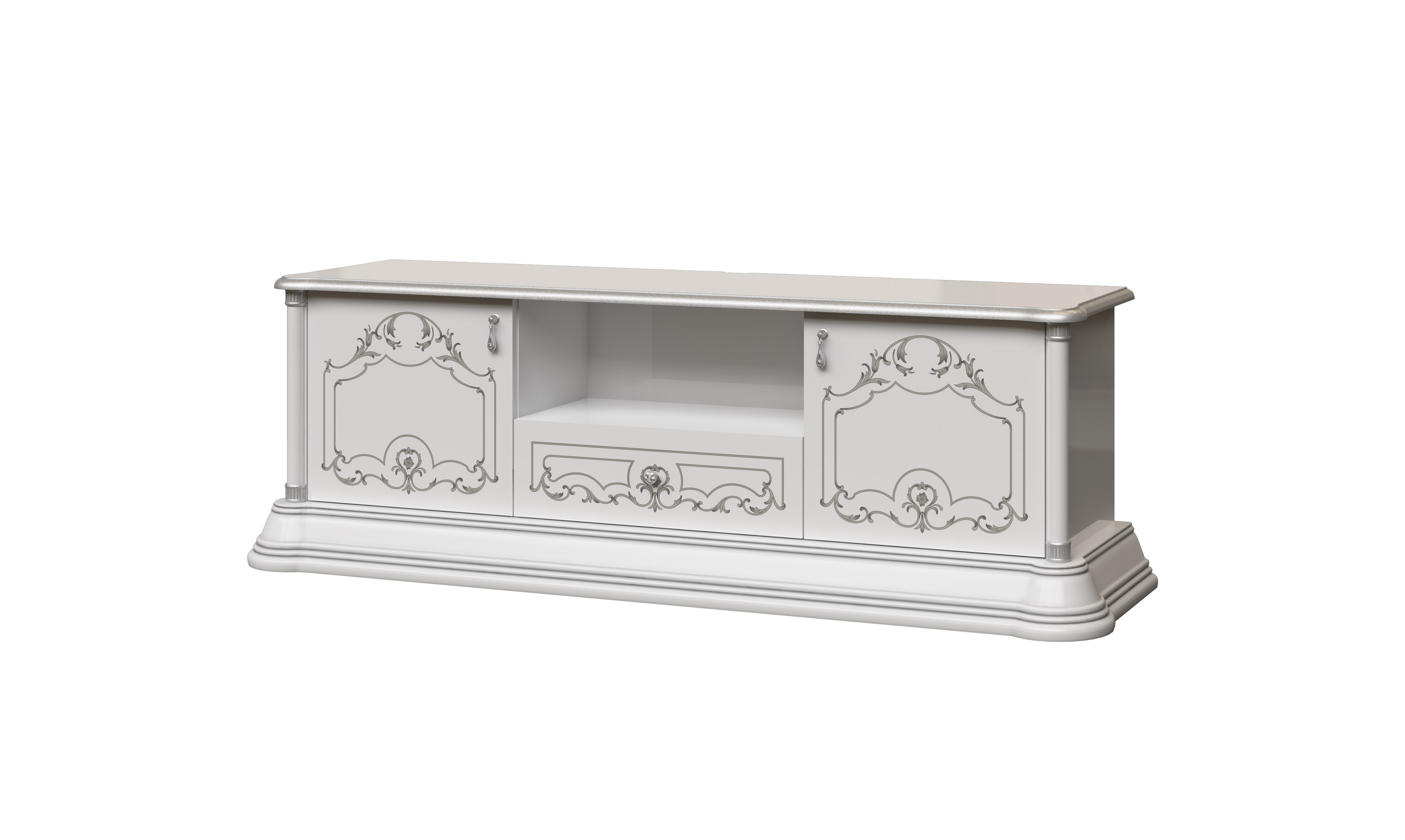 Barock Wohnwand Remo 2 in Weiss/Silber
