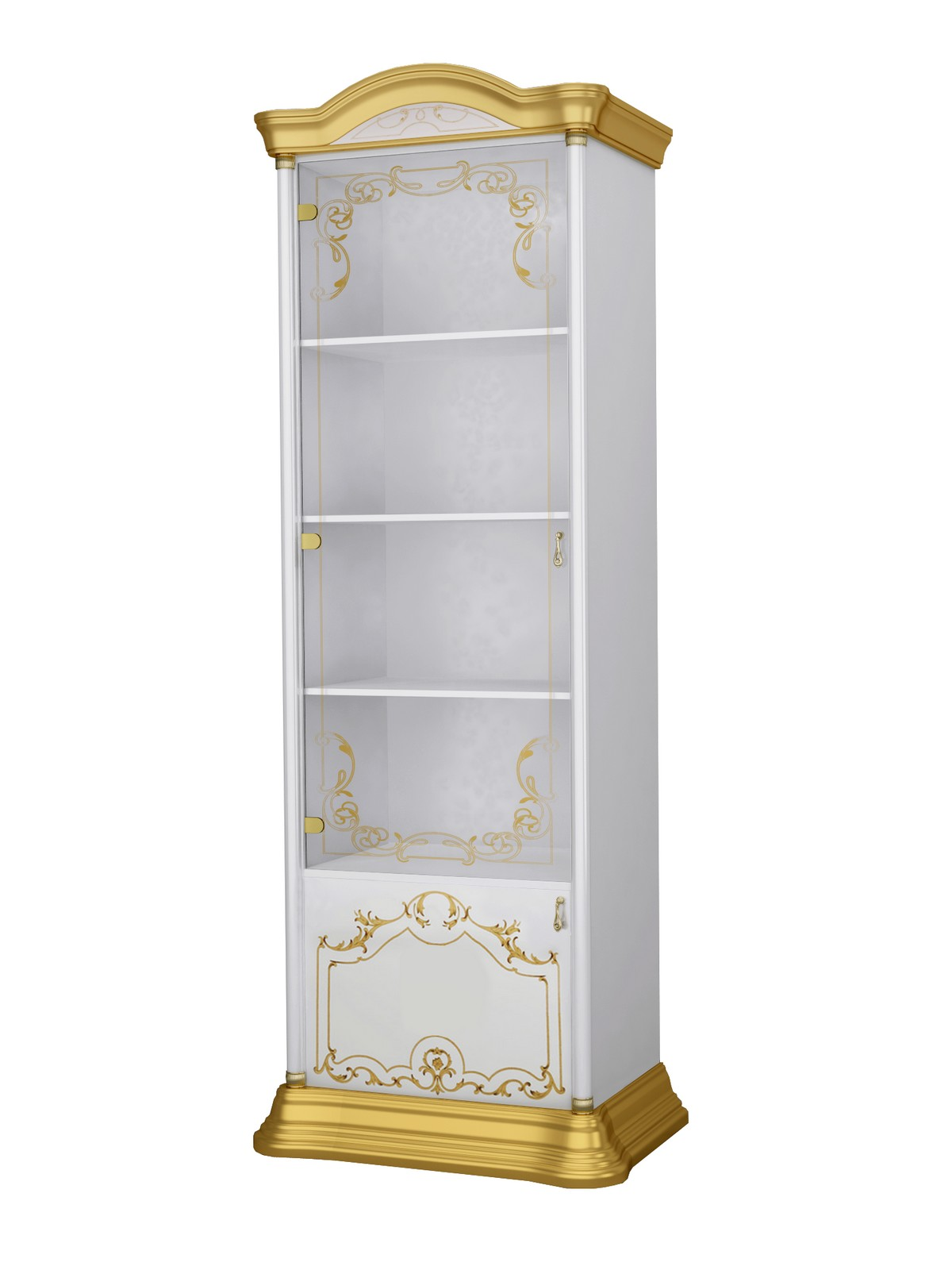 Barock Wohnwand Remo 2 in Weiss/Gold