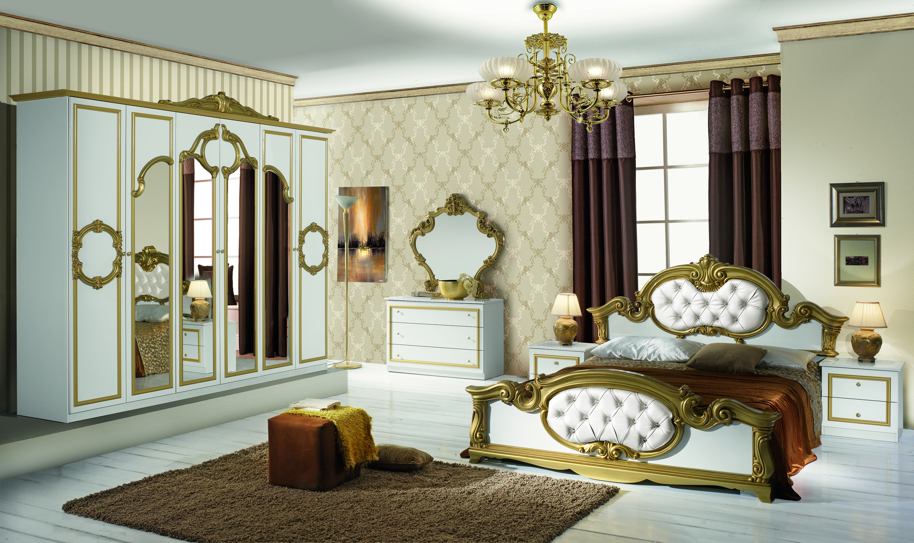 Schlafzimmer Set Barokko in Weiss/Gold 4-Teilig